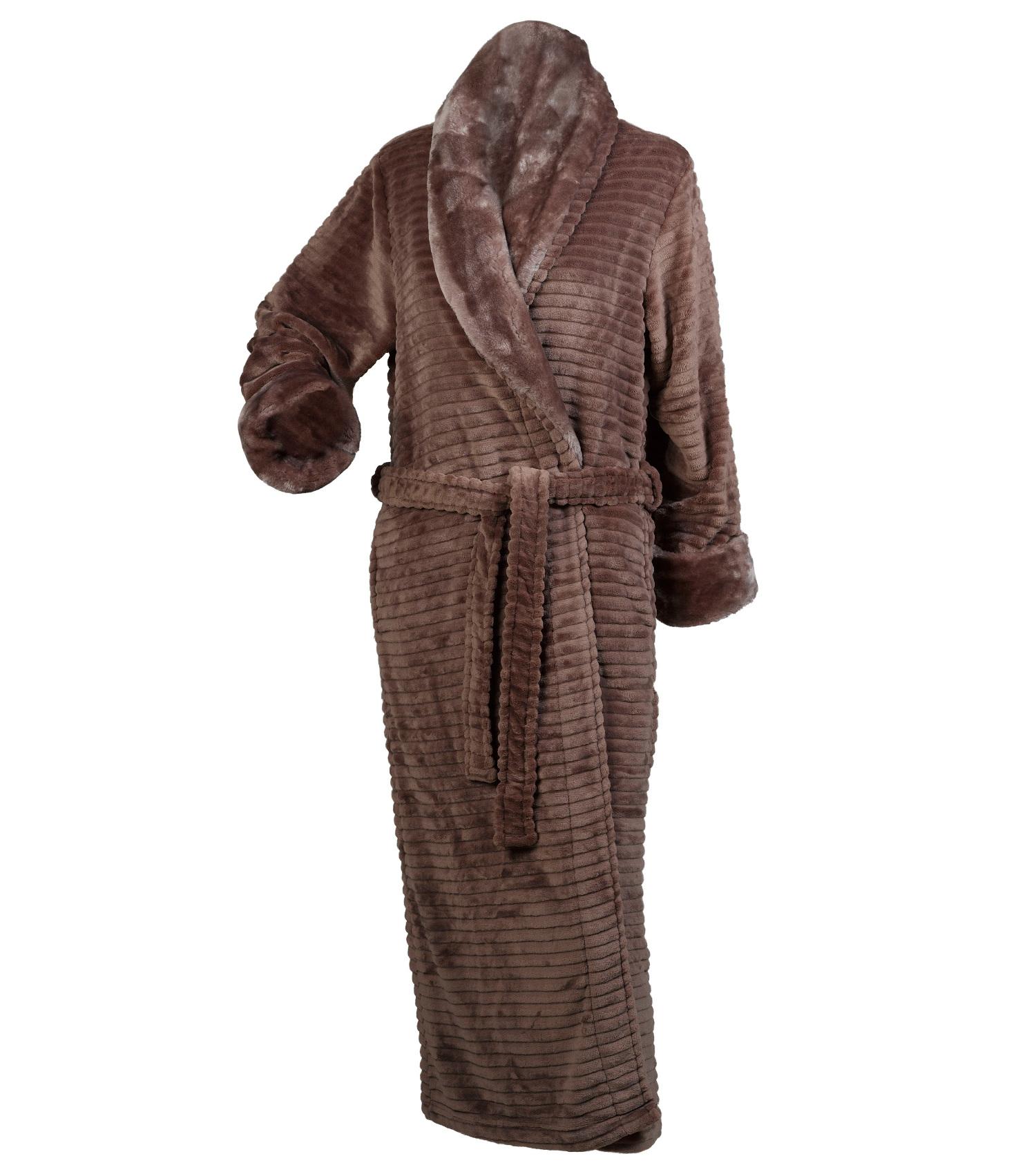 d6287545d2 Slenderella Ladies Ribbed Dressing Gown Button Zip Wrap Faux Fur ...