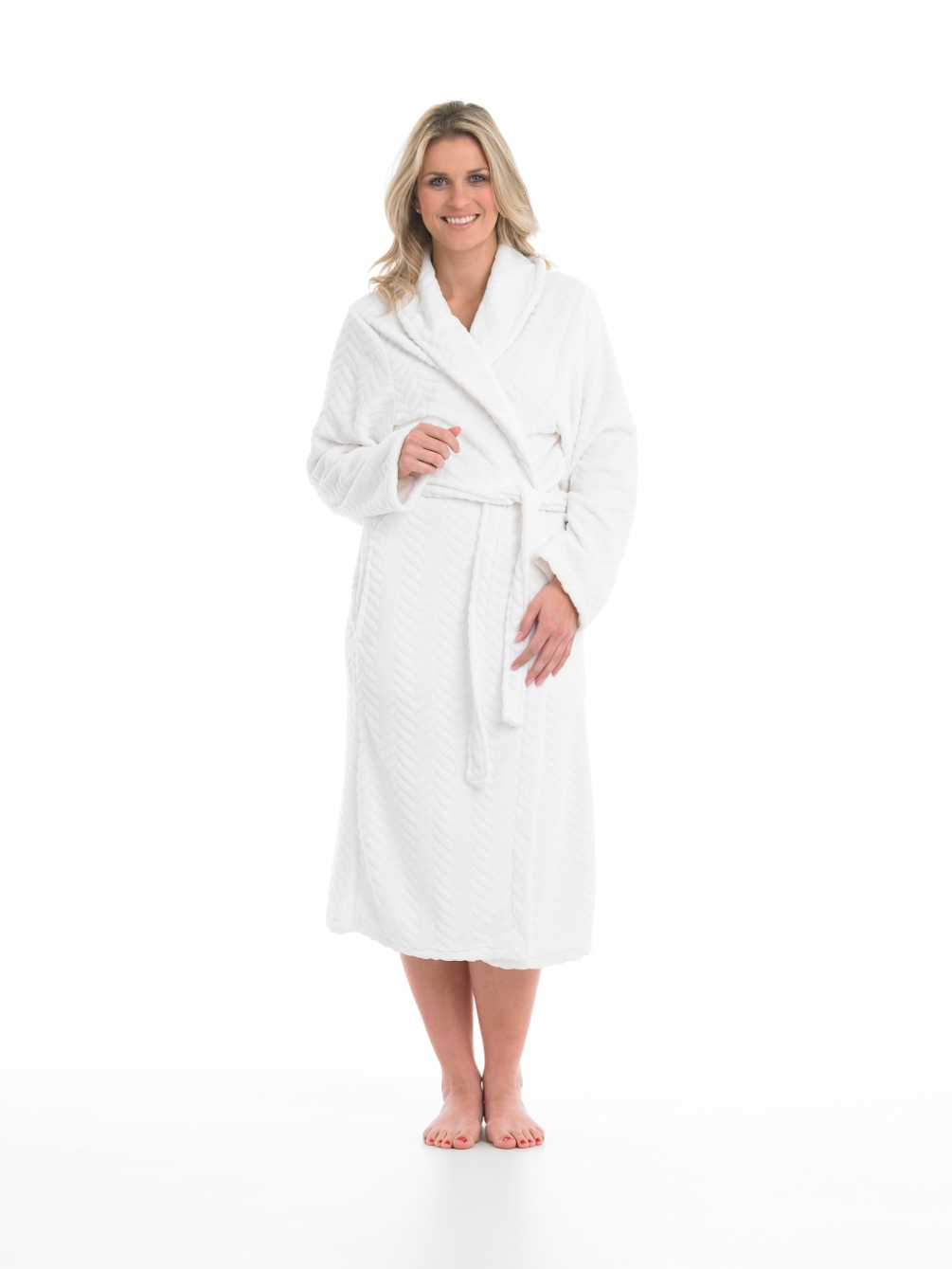 This is a super value for a heavy double loop terry cloth full-length hooded bath robe. Full length hooded bathrobe made with g ram weight % Turkish cotton terry.