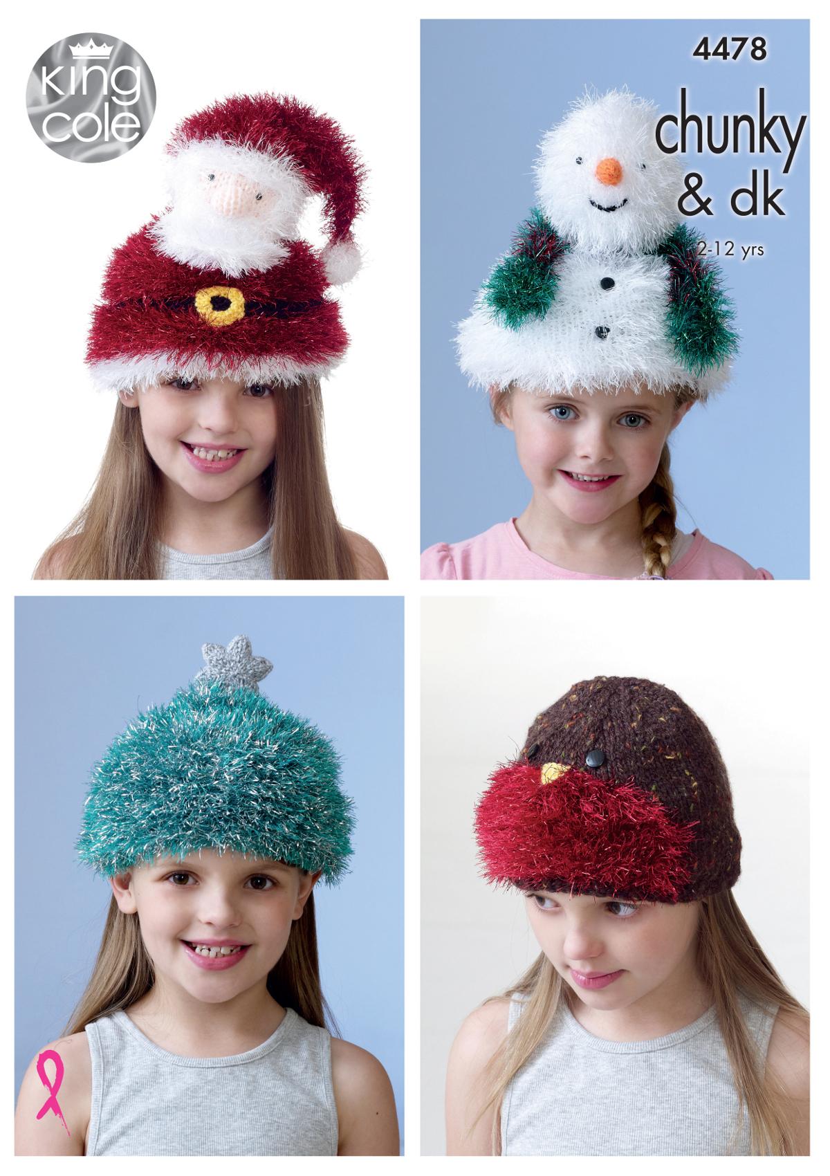 King Cole Childrens Christmas Hat Knitting Pattern Santa Snowman Robin Tree 4...