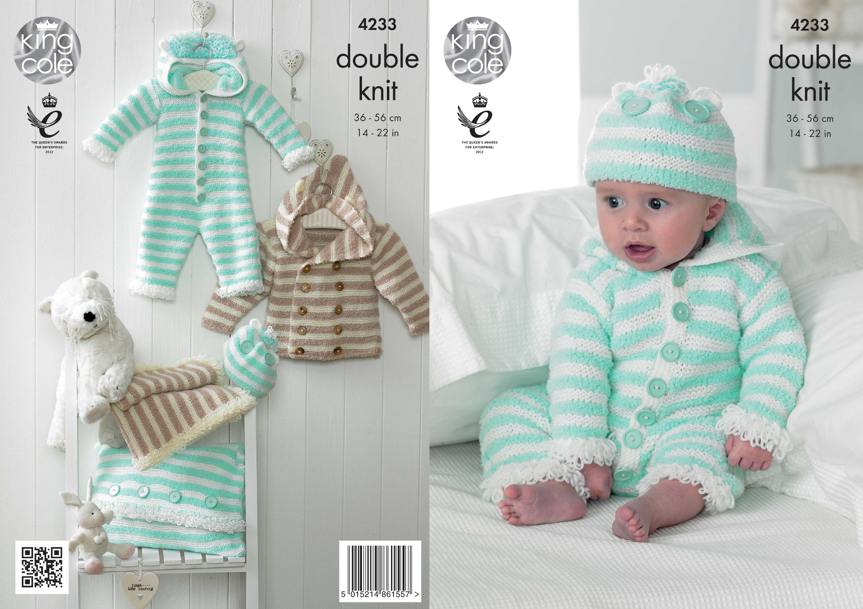 Knitting Patterns For Babies Double Knitting : King Cole Cuddles DK Double Knit Pattern Baby Onesie Coat Hat & Blanket 4...