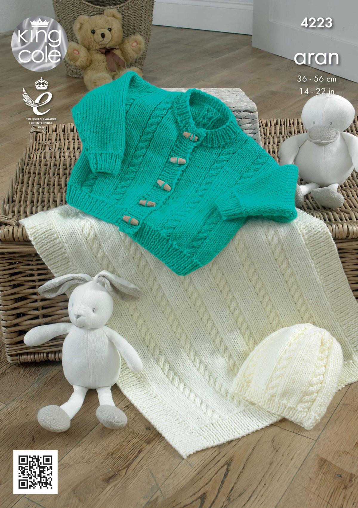 Baby Knitting Pattern King Cole Blanket, Cardigan and Hat Aran 4223 eBay
