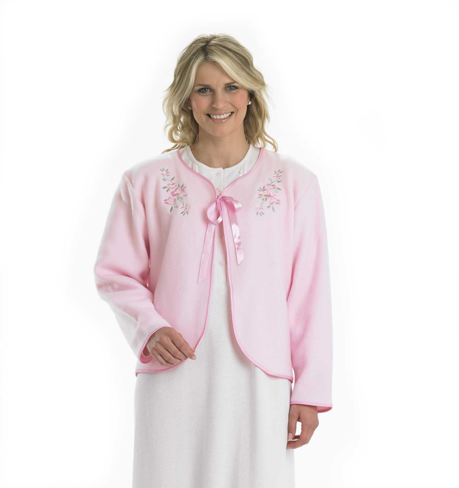 Womens fleecy bed jacket slenderella ribbon tie floral