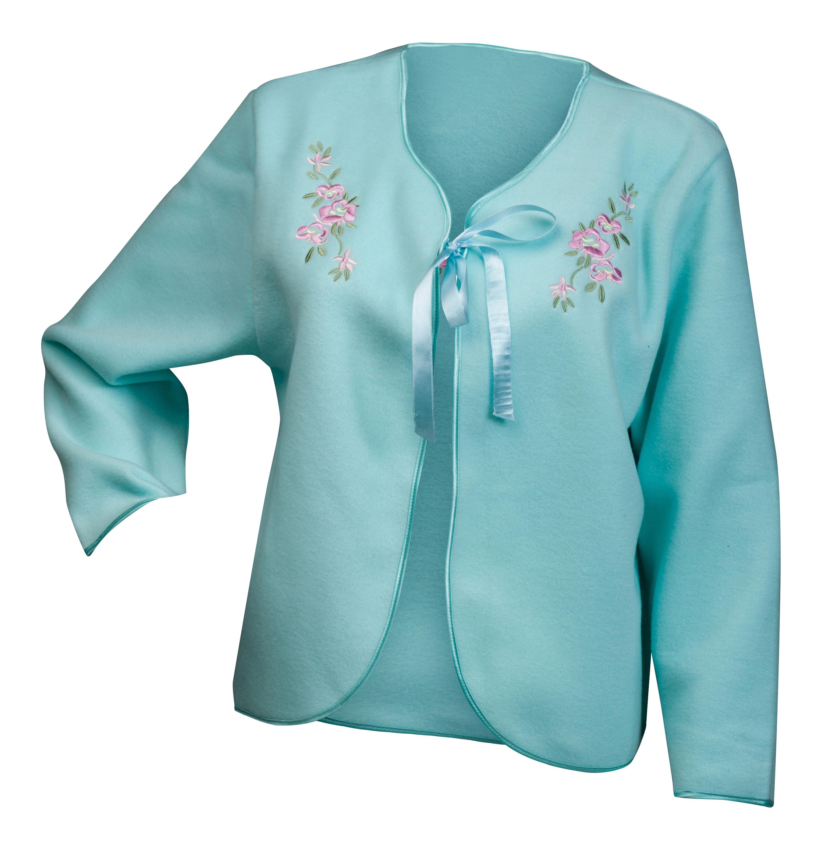 Bed Jacket Slenderella Ladies Polar Fleece Ribbon Floral Embroidery Housecoat