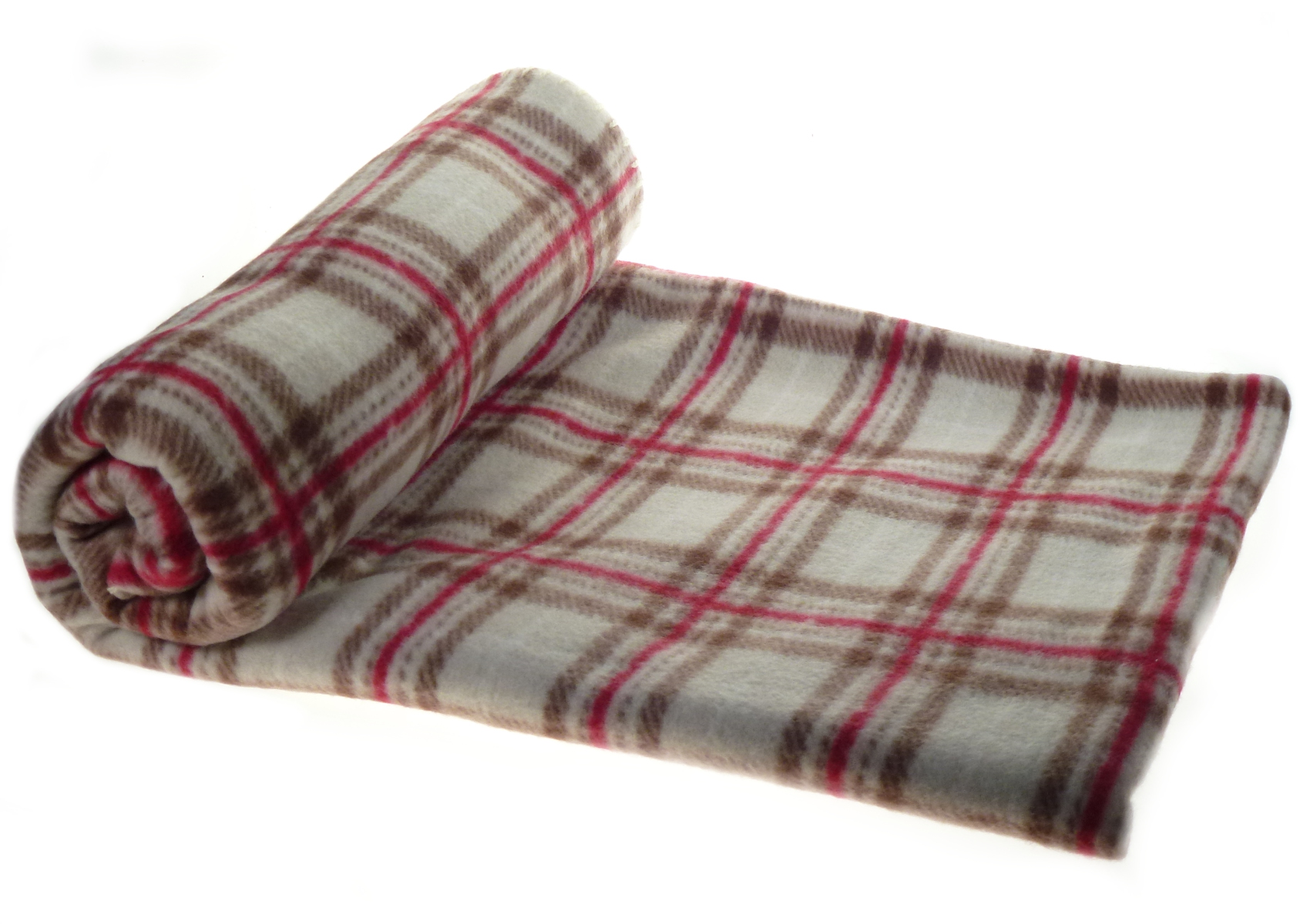 Soft Polar Fleece Checked Blanket Bed Sofa Throw Beige