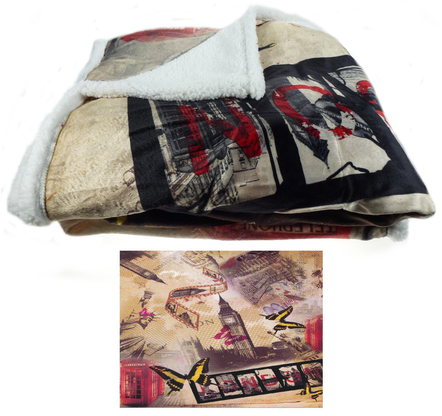 City Scene Blanket Super Soft Sherpa Fleecy Bed Sofa Home