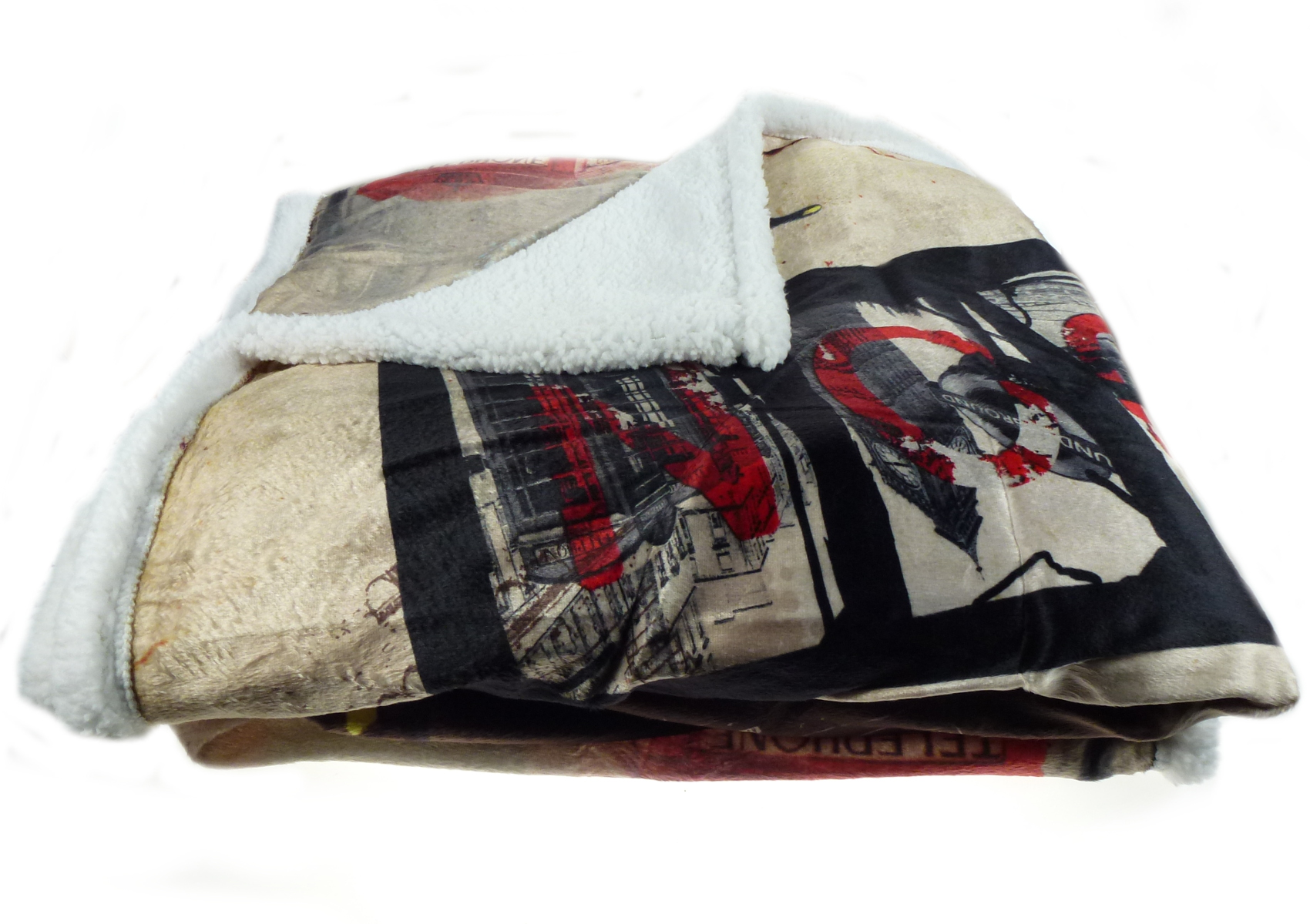 City Love Blanket Super Soft Sherpa Fleece Reversible Bed