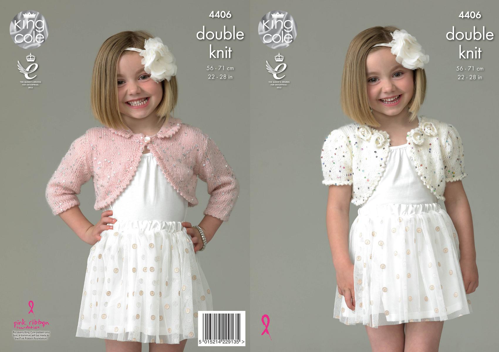 King Cole Galaxy Double Knitting Pattern Girls Boleros Flower Detail Collar 4...