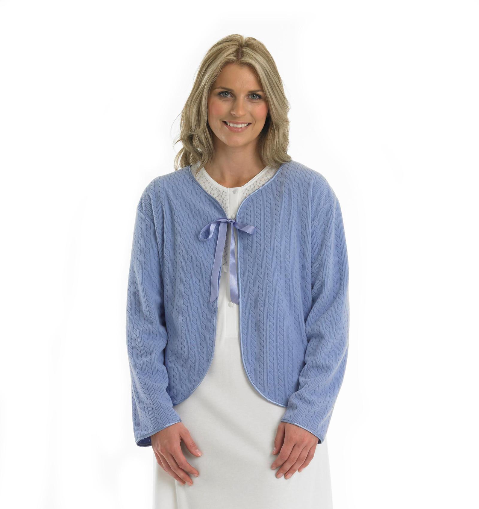 Slenderella Ladies Lightweight Soft Fleece Bed Jacket Cable ...