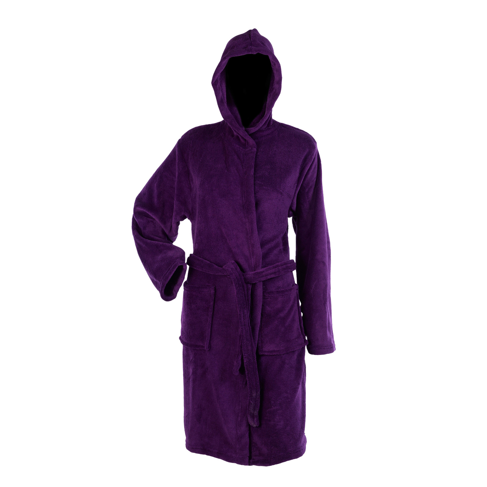 Womens Hooded Wrap Around Dressing Gown Soft Coral Fleece