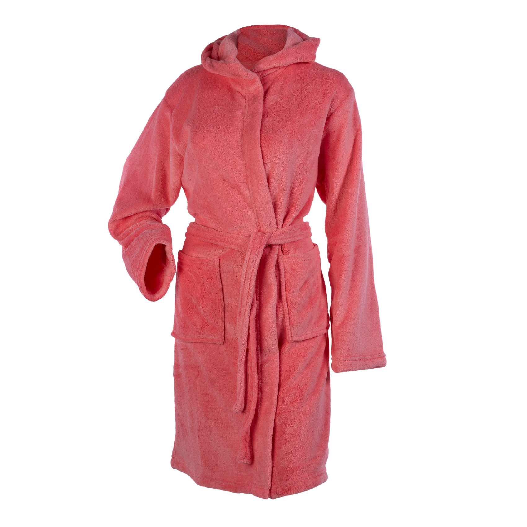 Womens Hooded Wrap Around Dressing Gown Soft Coral Fleece Plain ...