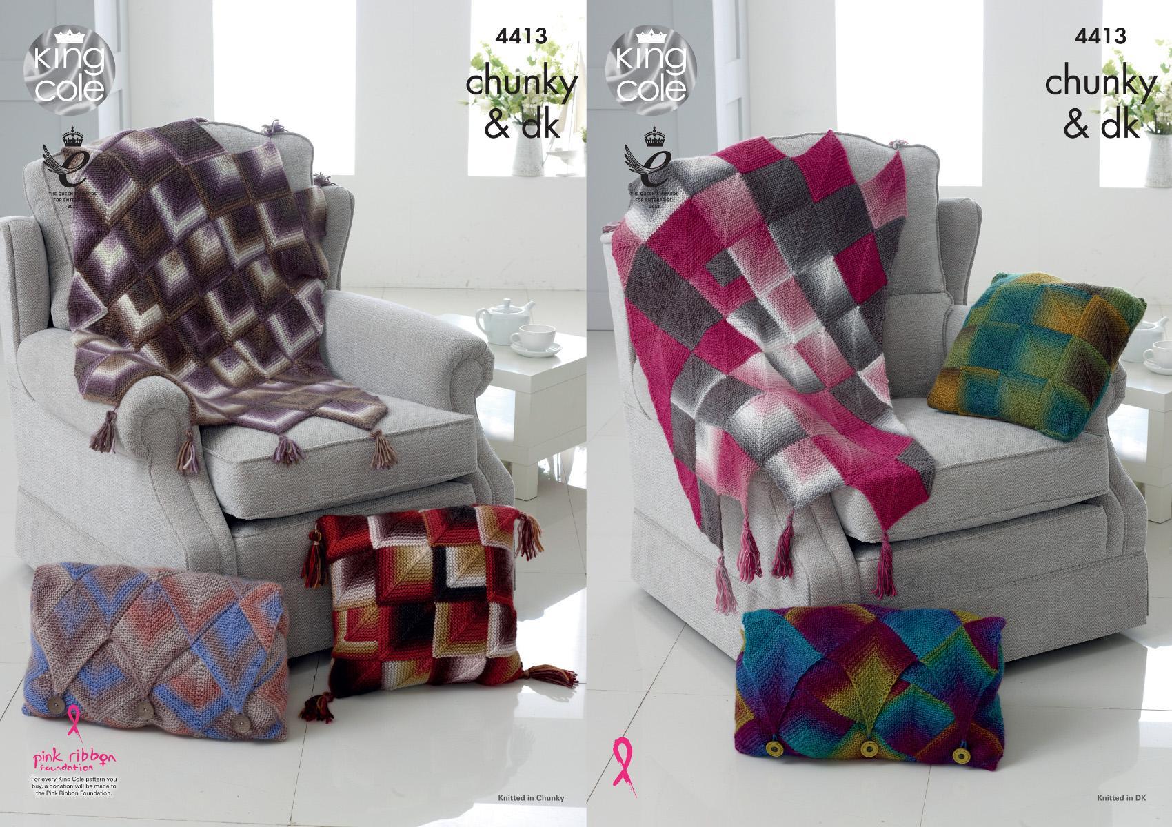 Diamond Throw & Cushion Cover Knitting Pattern King Cole Double Knit Chun...