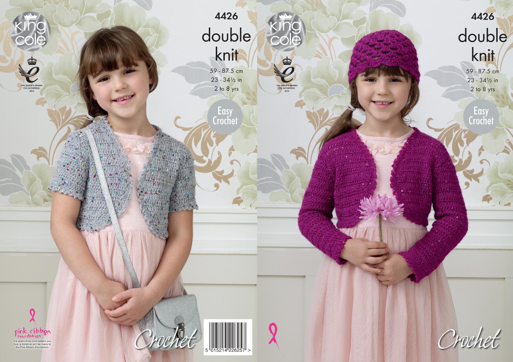 Girls Easy Double Knit Crochet Pattern Bolero Shell Hat King Cole Galaxy DK 4...
