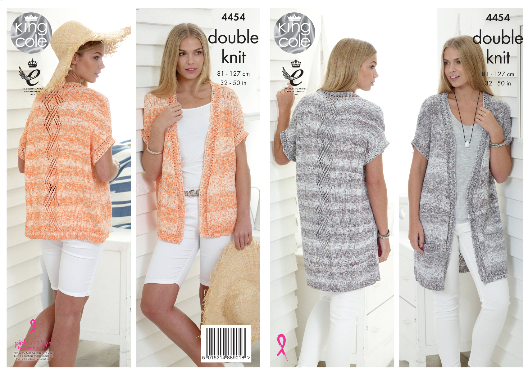 Knitting Patterns Ladies Waistcoats : King Cole Ladies Double Knitting Pattern Lace Effect Waistcoats Vogue DK 4454...