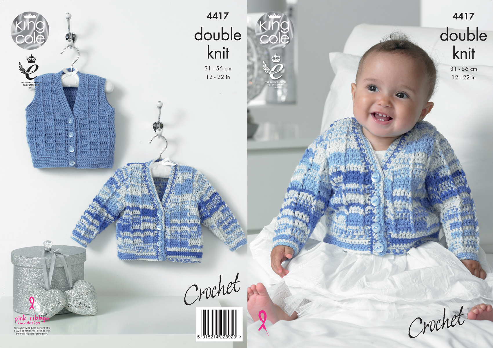 Crochet Patterns King Cole : Details about King Cole Baby Double Crochet Gabarit Pour Crochet Gilet ...