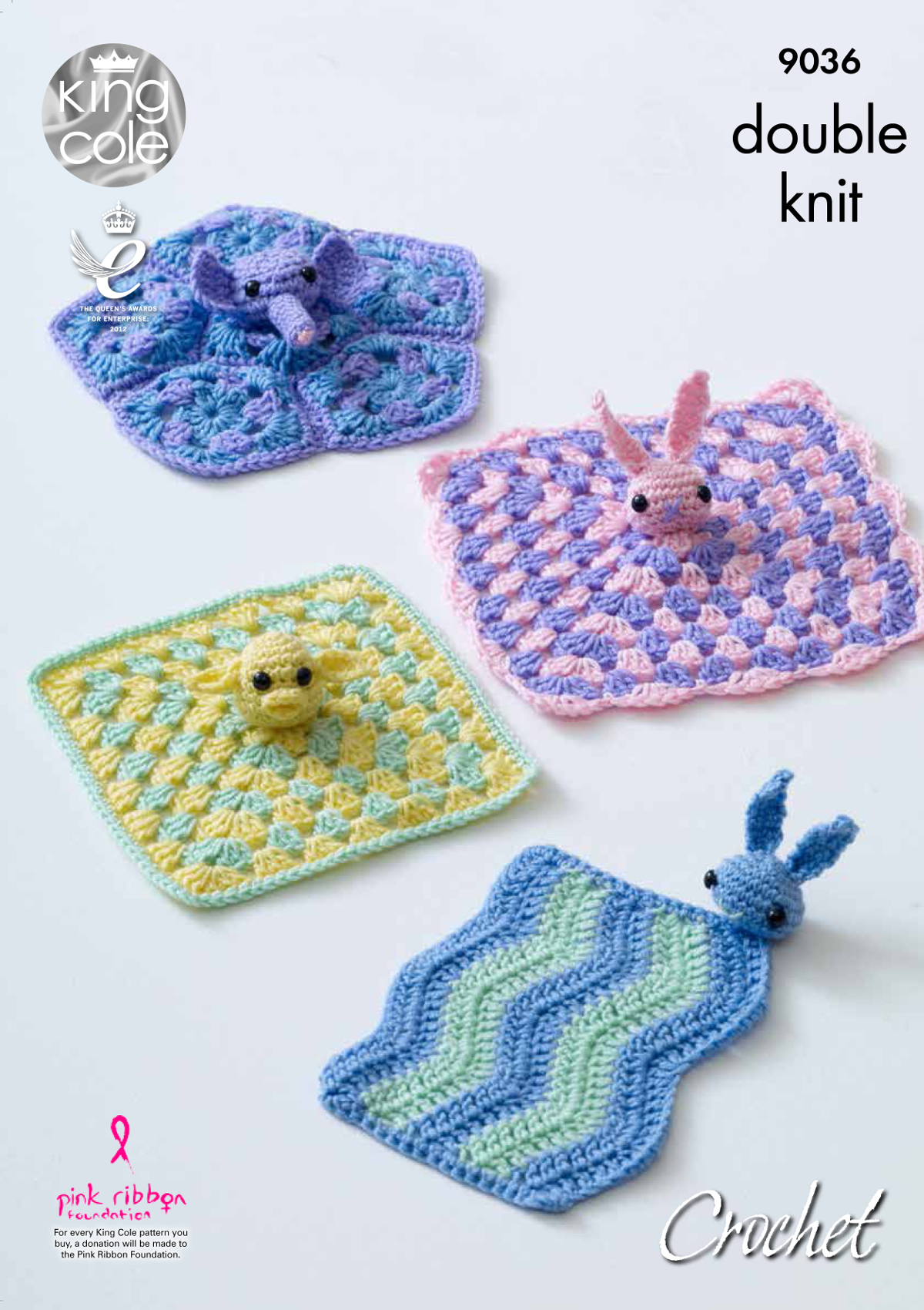 Free Knitting Pattern For Baby Comfort Blanket : King Cole DK Crochet Pattern Bunny Elephant or Chick Baby ...