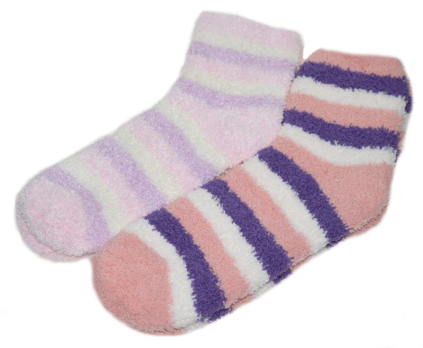 Womens Striped Bed Socks 2 Pairs Fluffy Soft Fleece