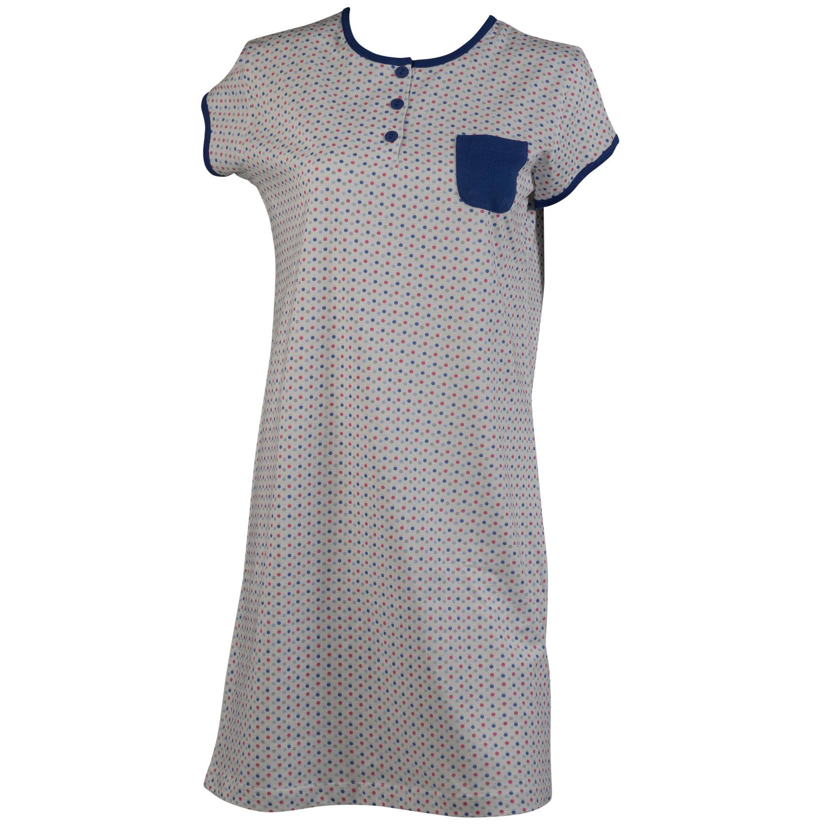 Black t shirt nightdress - Womens Cotton Polka Dot Nighty Ladies Short Sleeve