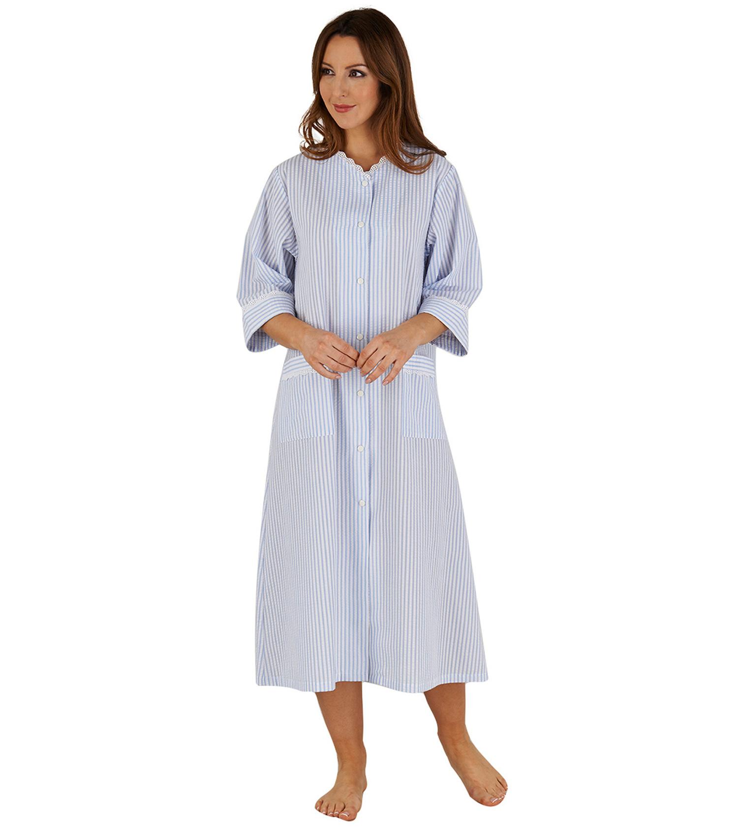 Ladies Dressing Gown Seersucker Stripe Easy Fastening Poppers Lace