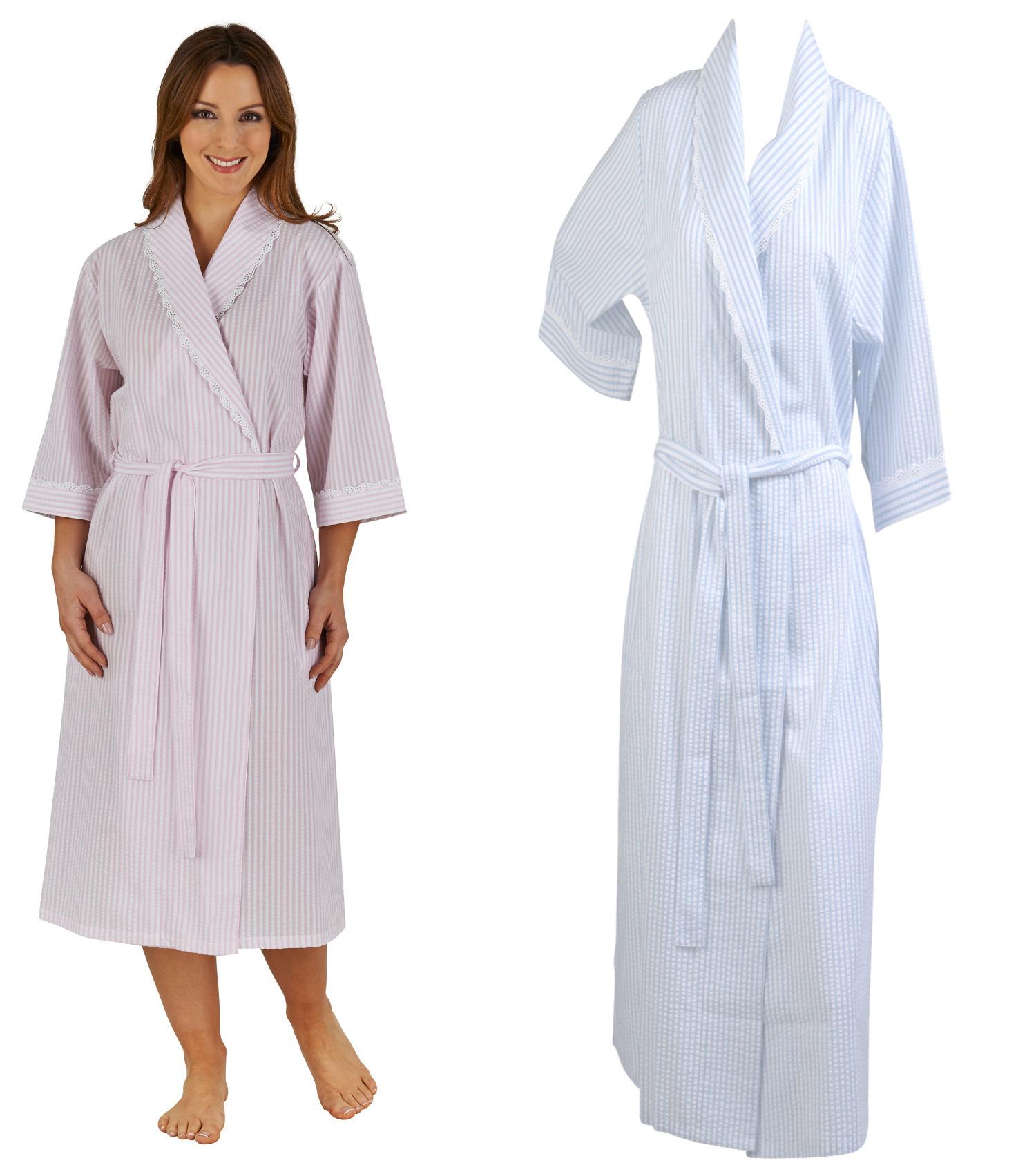 Ladies Seersucker Stripe Dressing Gown Womens 3 4 Sleeve