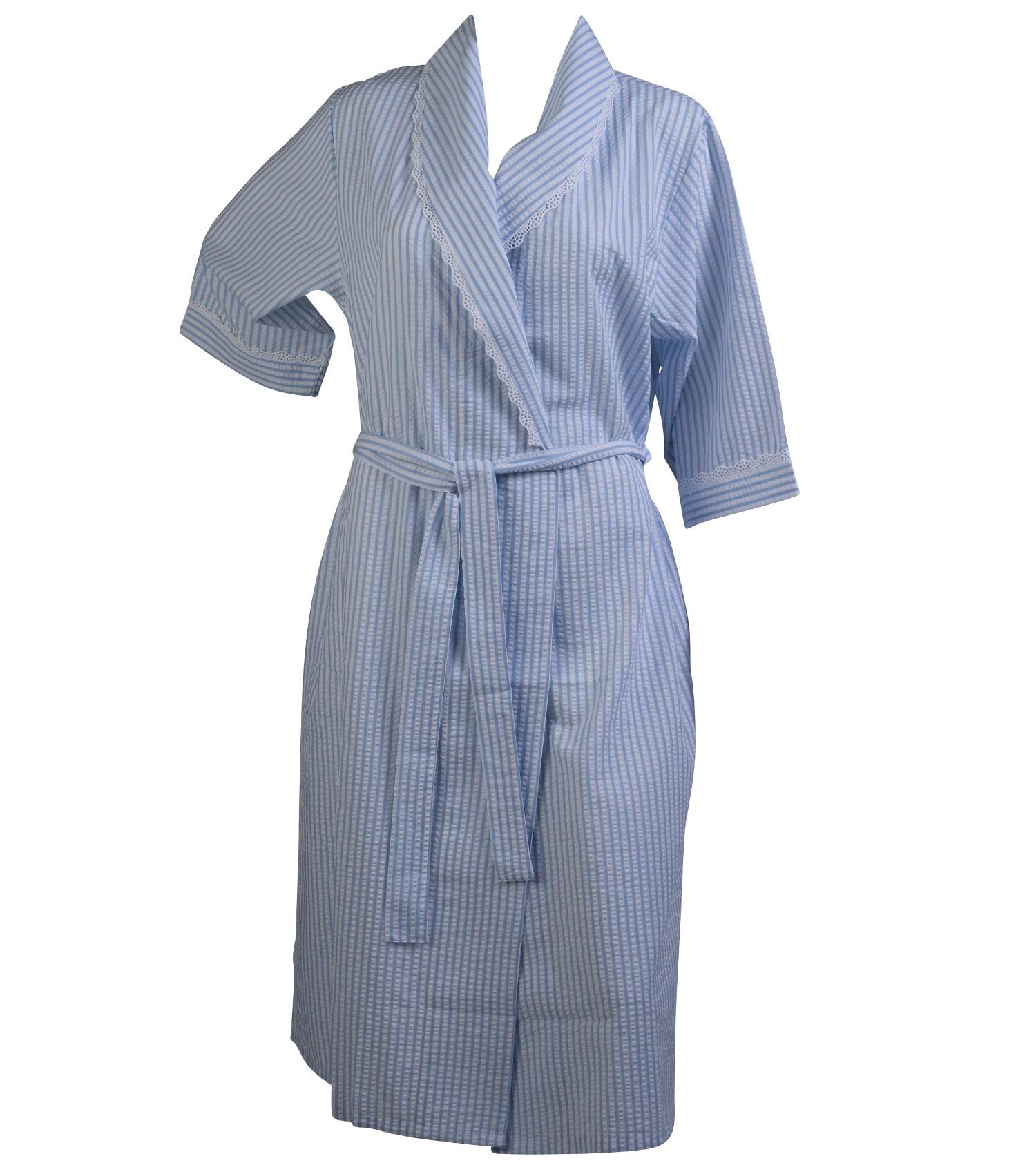 Ladies Seersucker Stripe Dressing Gown Womens 3/4 Sleeve Lace Trim ...