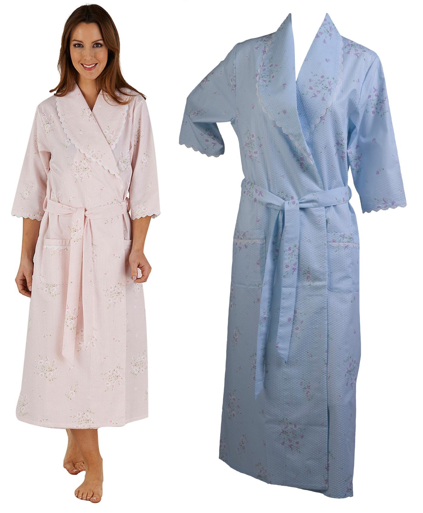 Womens Bathrobe Wrap Floral Seersucker Ladies 3 4 Sleeve