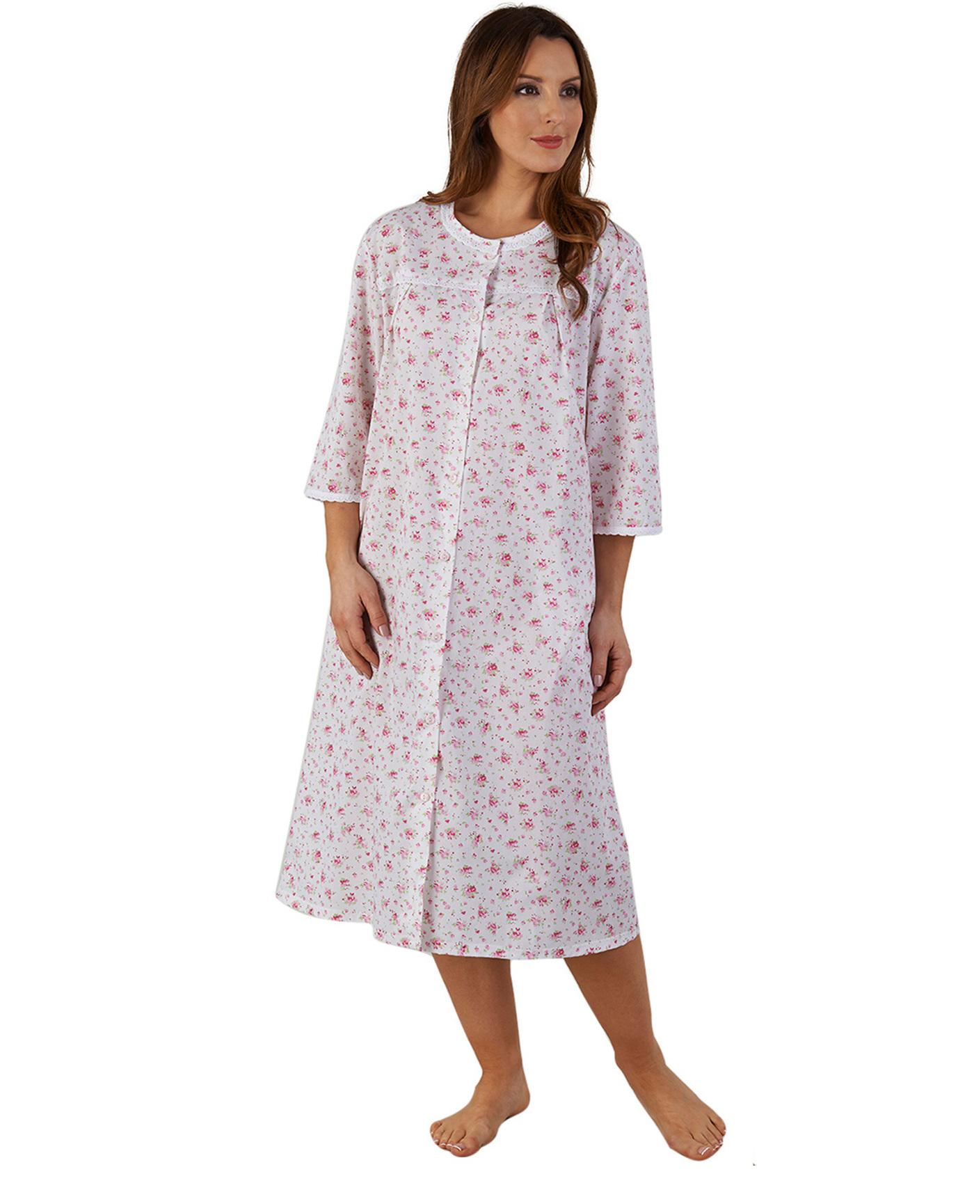 damen blumen bademantel gekn pft spitzenrand 3 4 rmel polycotton robe ebay. Black Bedroom Furniture Sets. Home Design Ideas