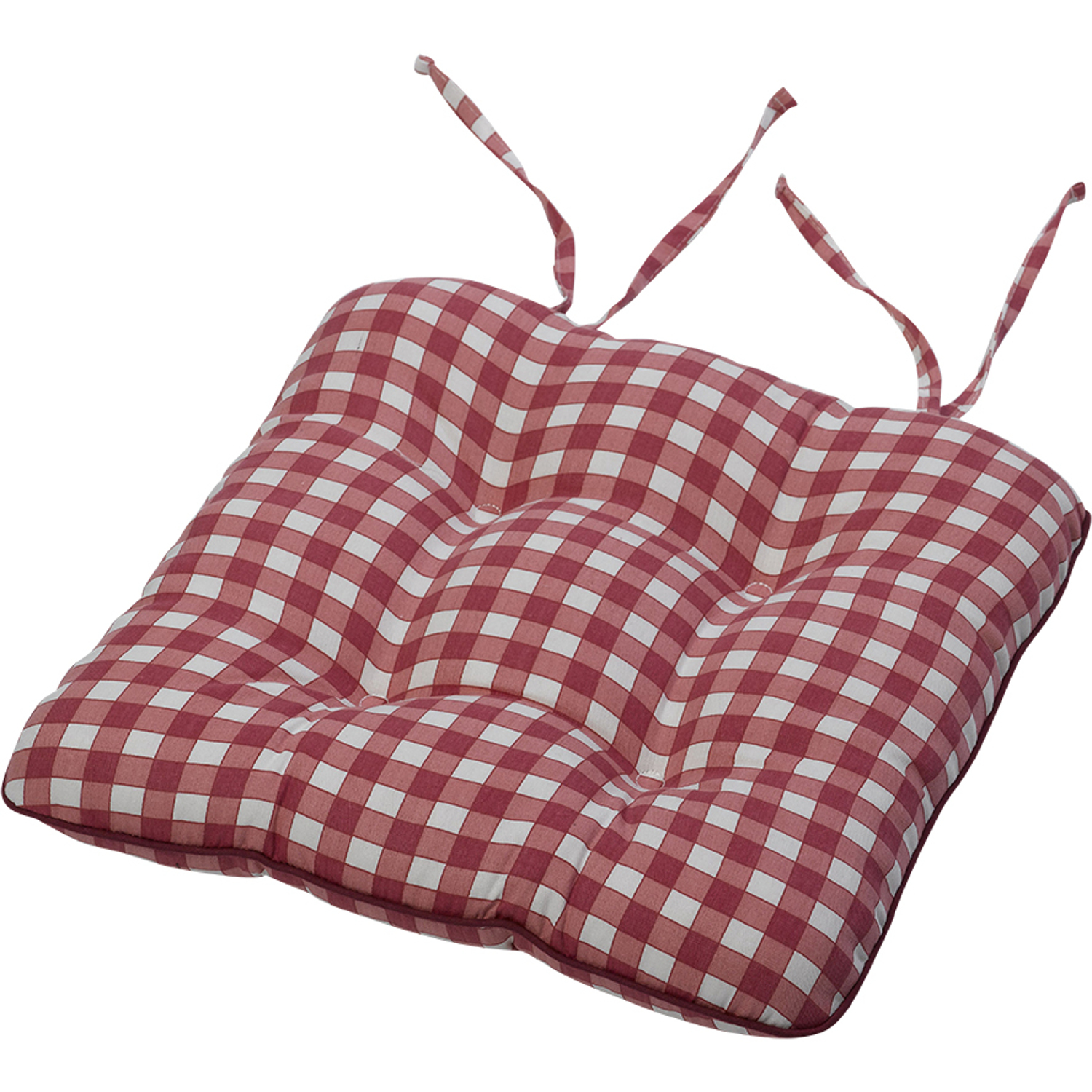 "Gingham Check Cotton Seat Pad 14"" x 15"" Kitchen Outdoor Dining"