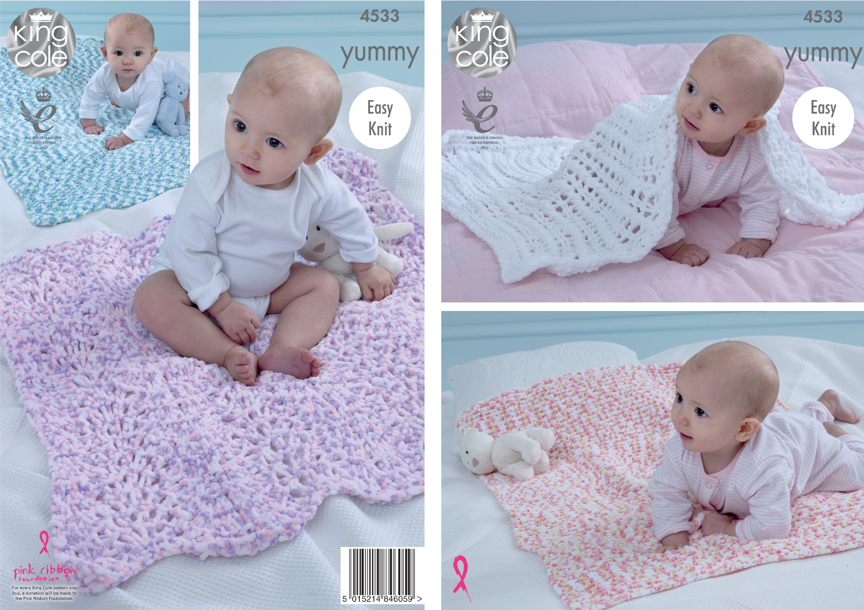 Knitting Patterns For Baby Comfort Blankets : King Cole Knitting Pattern Easy Knit Baby Comfort Blankets Yummy Chunky 4533 ...
