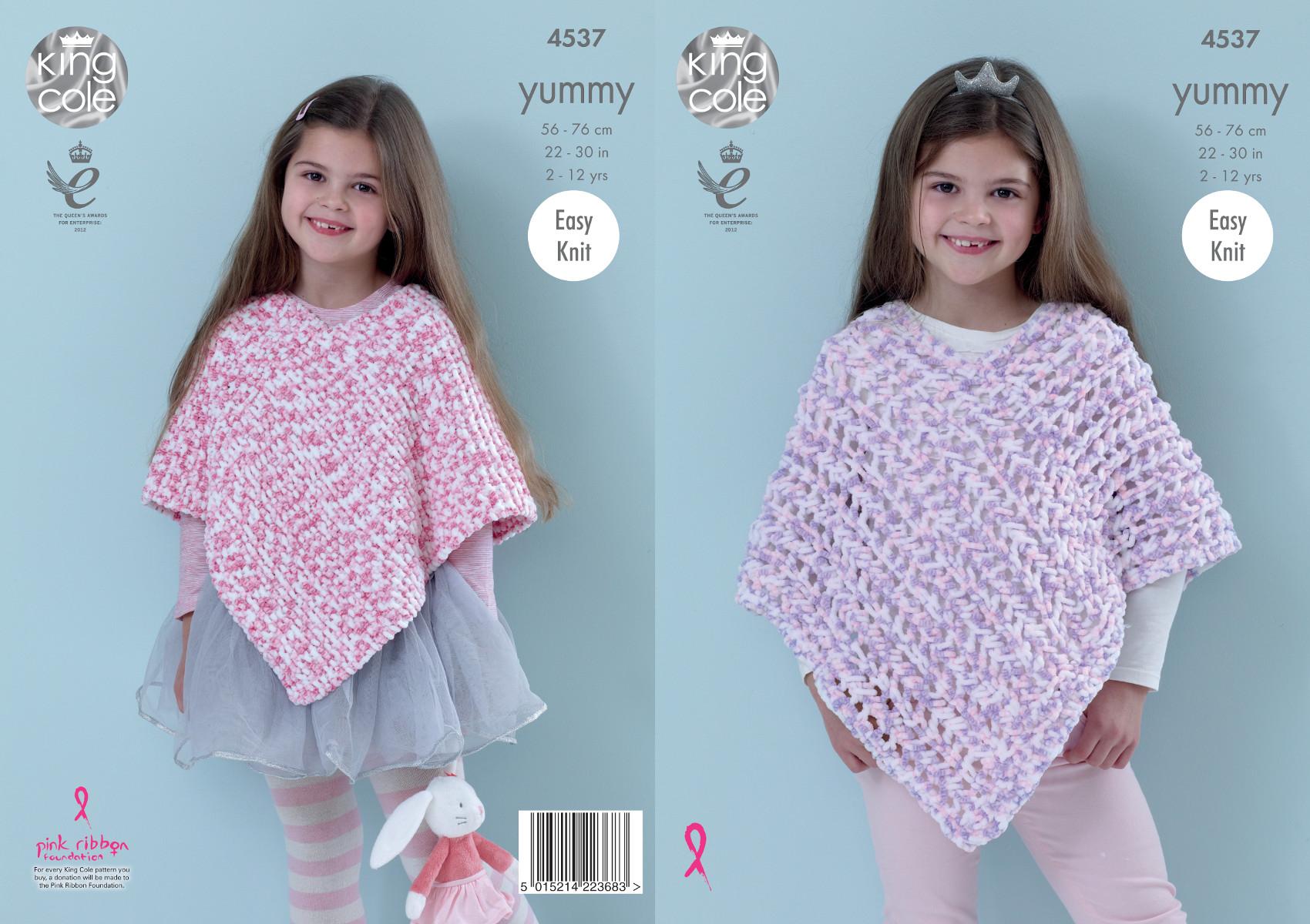 Knitting Pattern Lace Poncho : King Cole Girls Knitting Pattern Easy Knit Garter Stitch ...