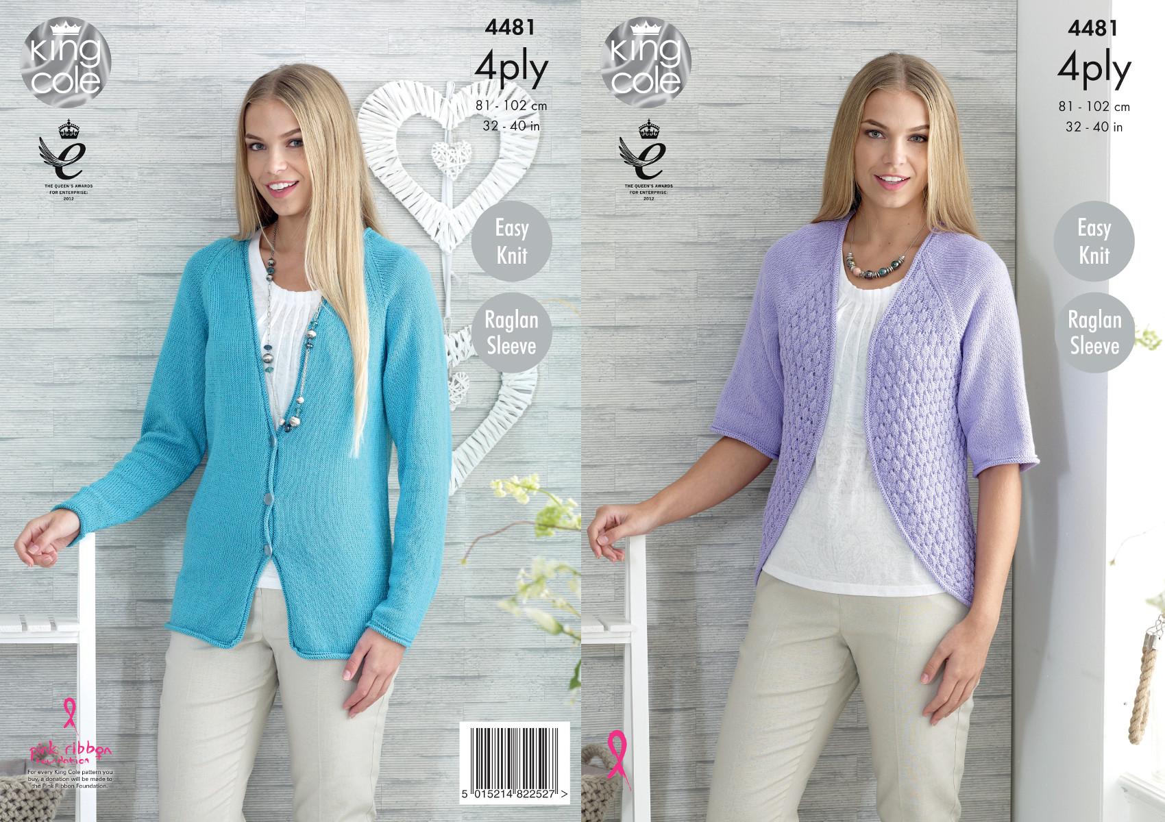 Knitting Pattern Ladies Lacy Cardigan : King Cole 4 Ply Knitting Pattern Easy Knit Ladies Lace Cardigan & Bolero ...
