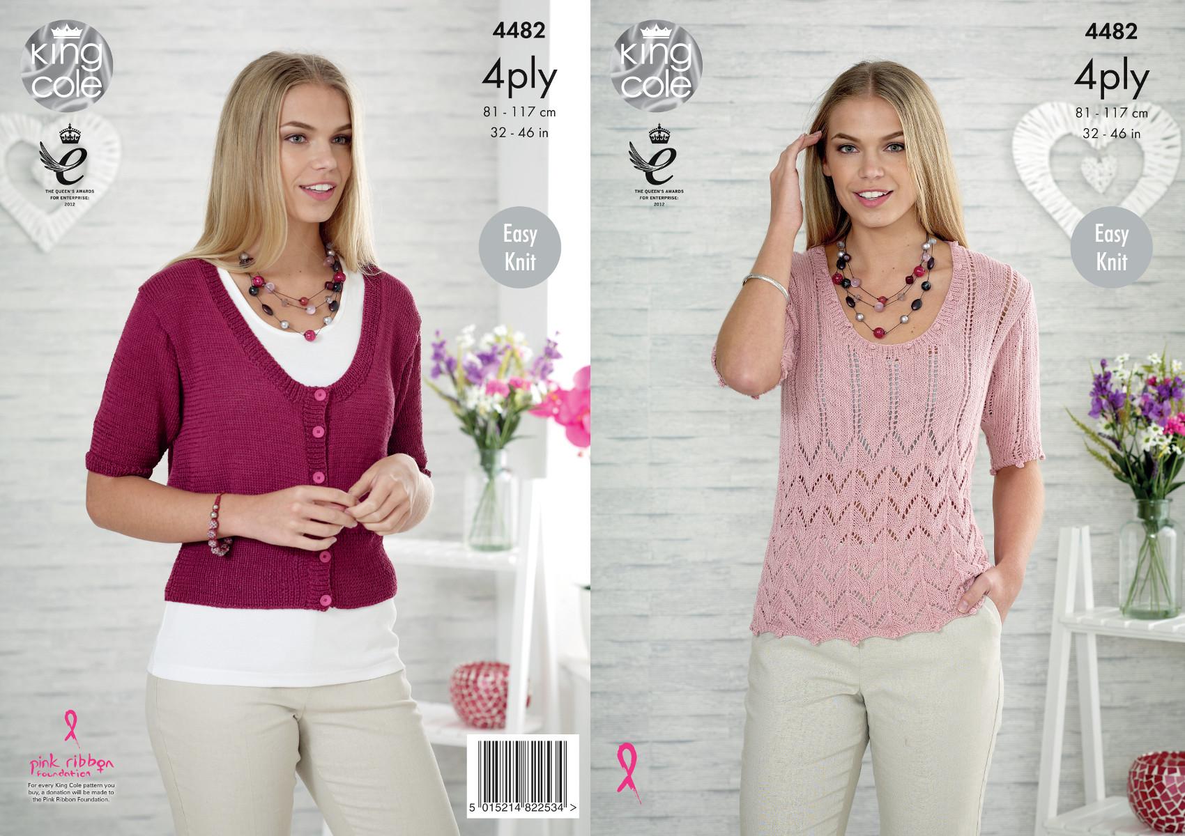 King Cole Ladies Cardigan Knitting Pattern : Womens Lace Top & Cardigan Knitting Pattern King Cole Ladies Easy Knit 4p...