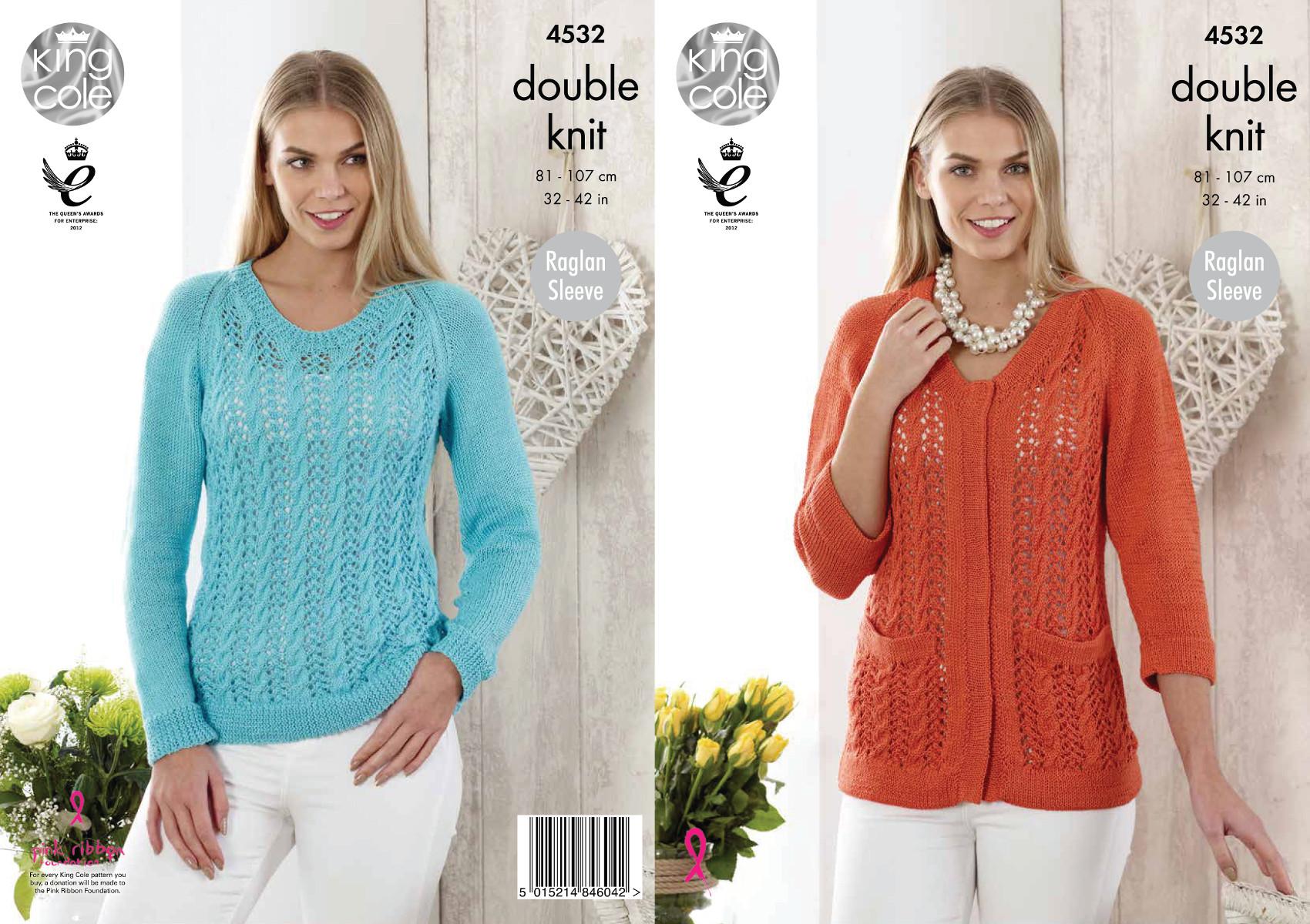 Ladies Raglan Jumper Knitting Pattern : Ladies Raglan Sleeve Lace Cardigan & Jumper Double Knitting Pattern Giza ...