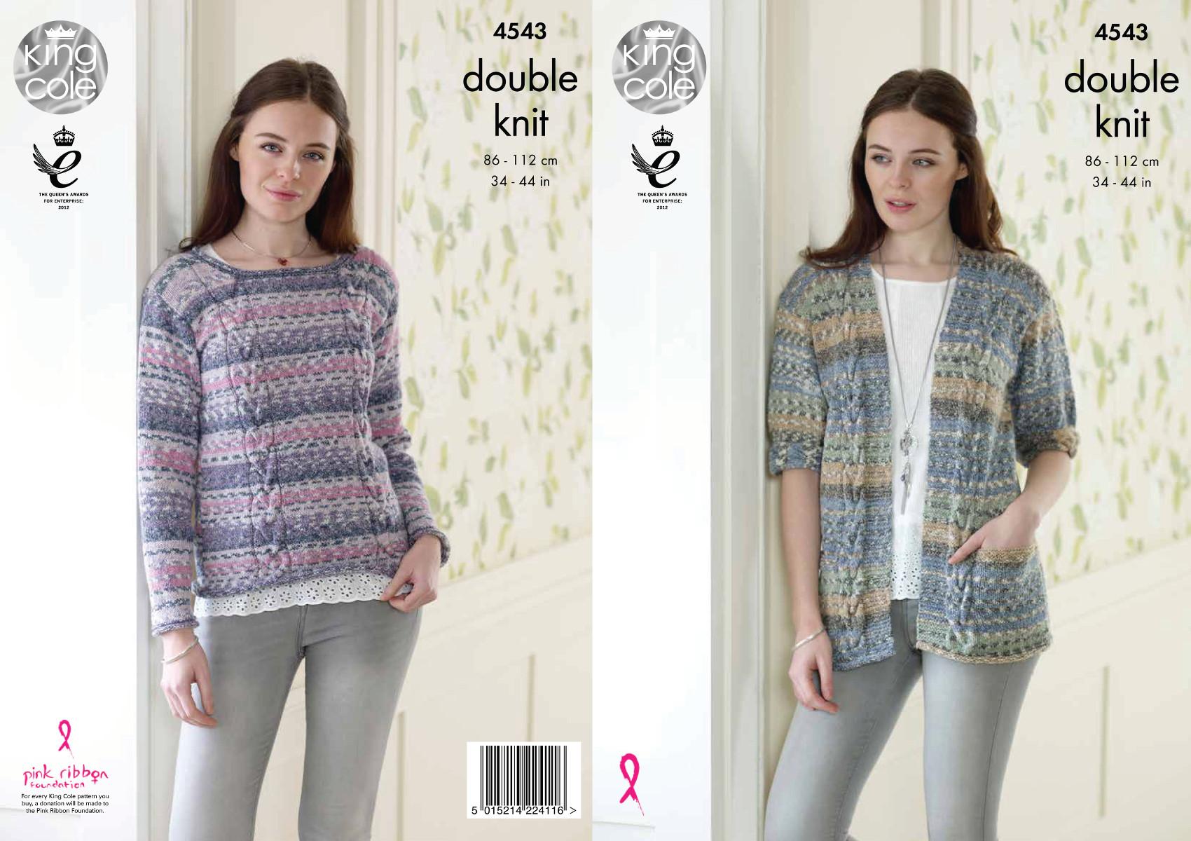 King Cole Ladies Cardigan Knitting Pattern : Ladies Cable Cardigan & Jumper Double Knitting Pattern King Cole Drifter ...