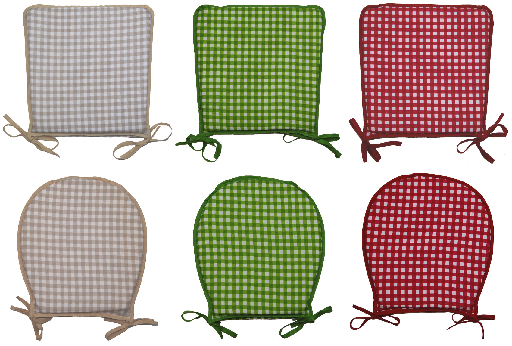 Gingham Check 100% Cotton Seat Pad Round or Square Garden Kitchen