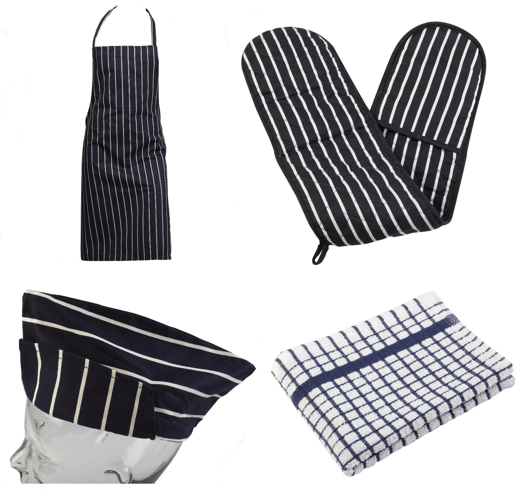 4 piece cotton kitchen linen set bib apron oven glove tea towel