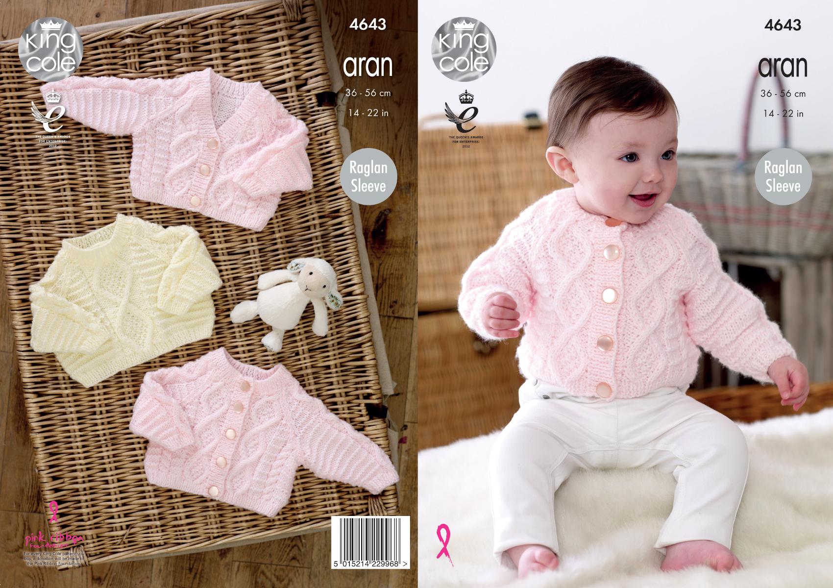 Knitting Pattern King Cole Baby Aran Raglan Sleeve Cabled Cardigans Jumper 46...
