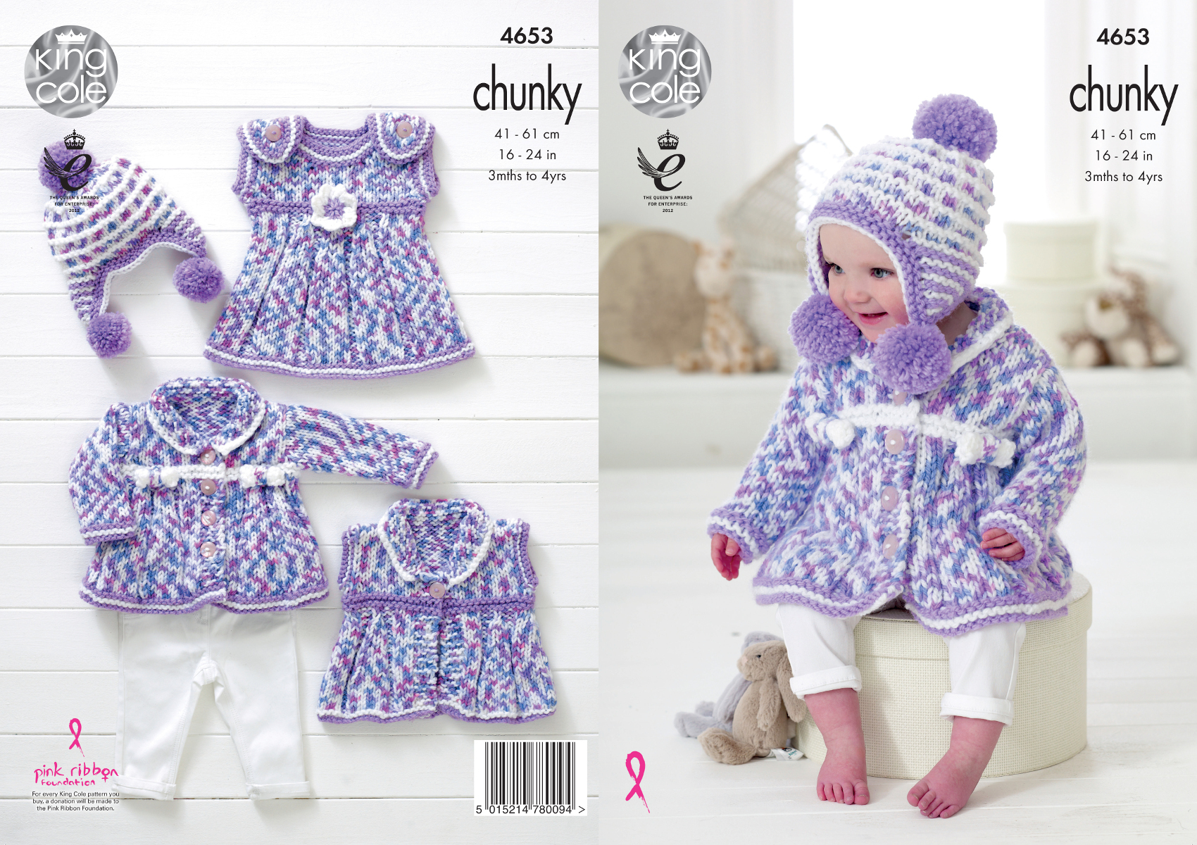 Baby Chunky Knitting Patterns : Chunky Knit Knitting Pattern King Cole Baby Coat Dress Waistcoat & Hat Se...