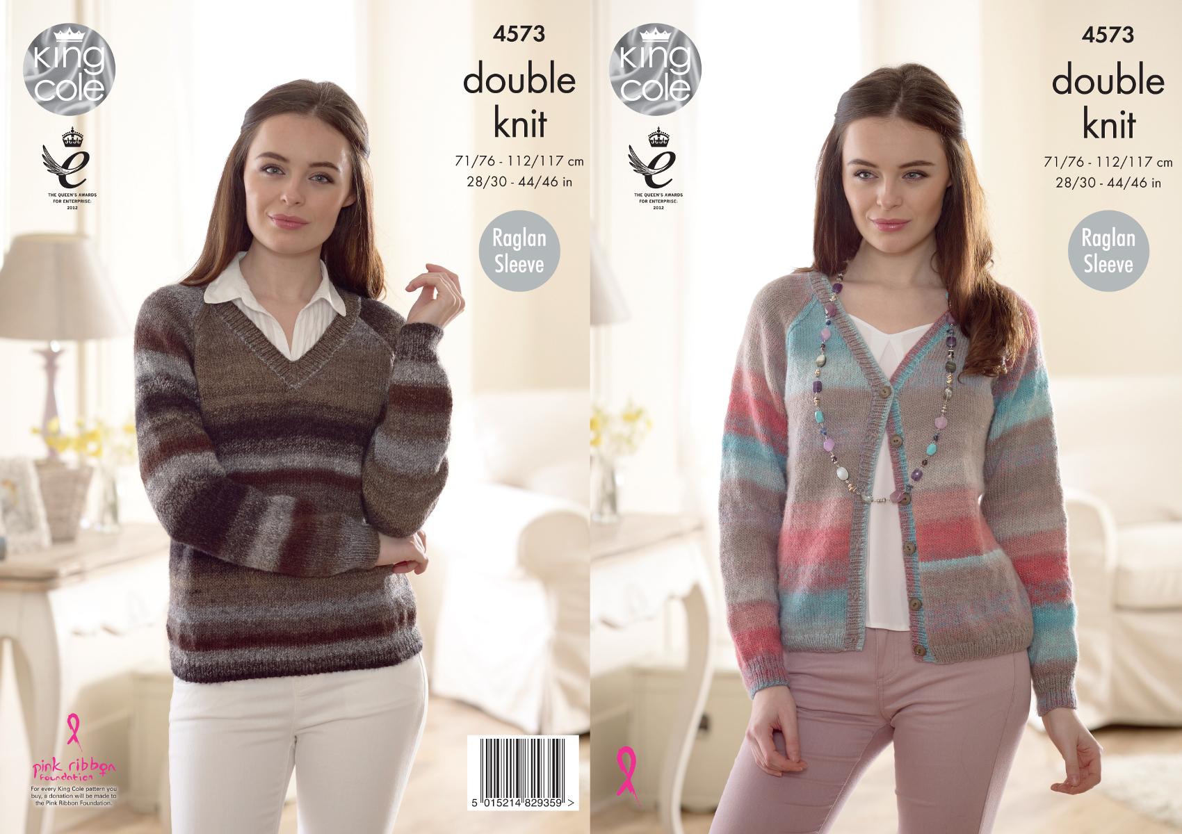 Ladies Raglan Jumper Knitting Pattern : Ladies Raglan Sleeve Jumper & Cardigan Knitting Pattern King Cole Sprite ...