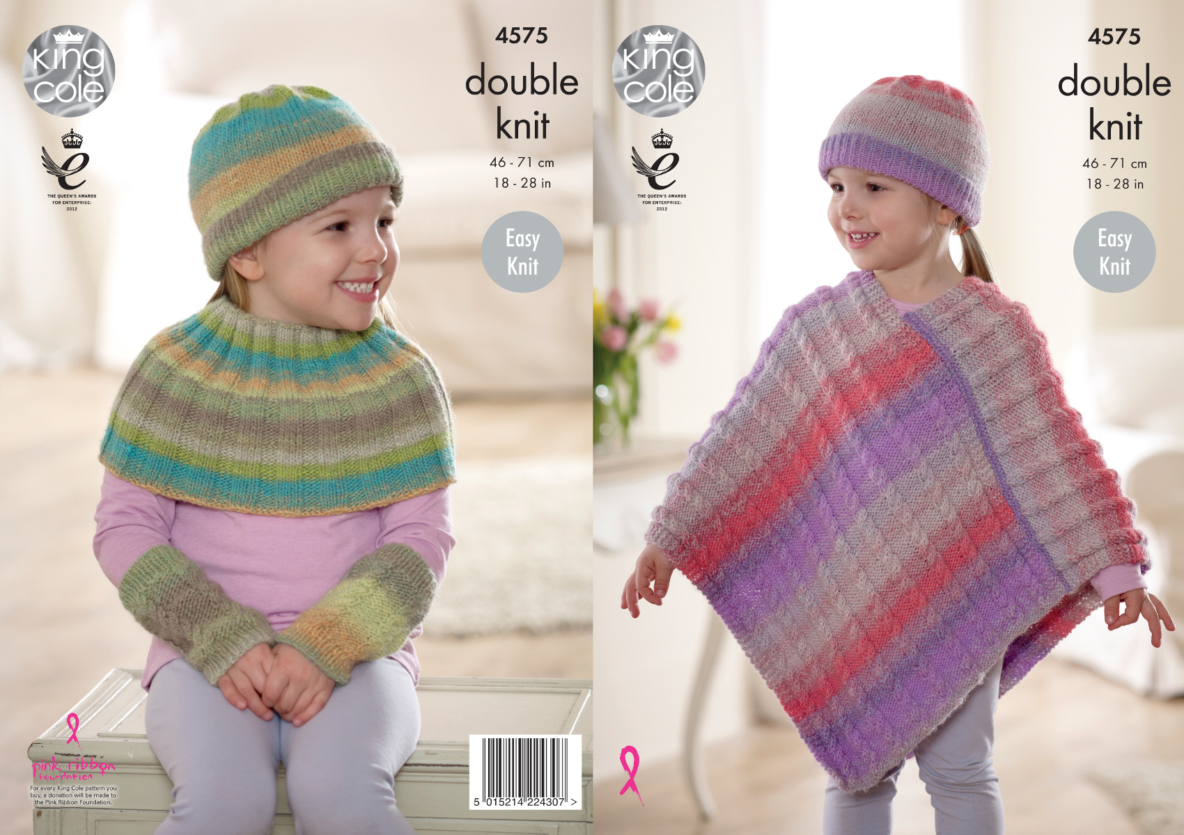 King Cole Knitting Pattern 3318 : Easy Knit Girls Poncho & Winter Accessories Knitting Pattern King Cole DK...
