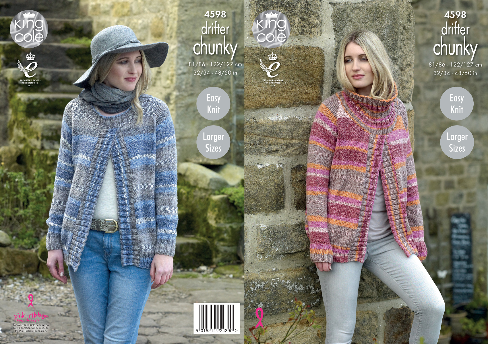 Download Knitting Patterns King Cole : Easy Knitted Chunky Sweater - Cardigan With Buttons