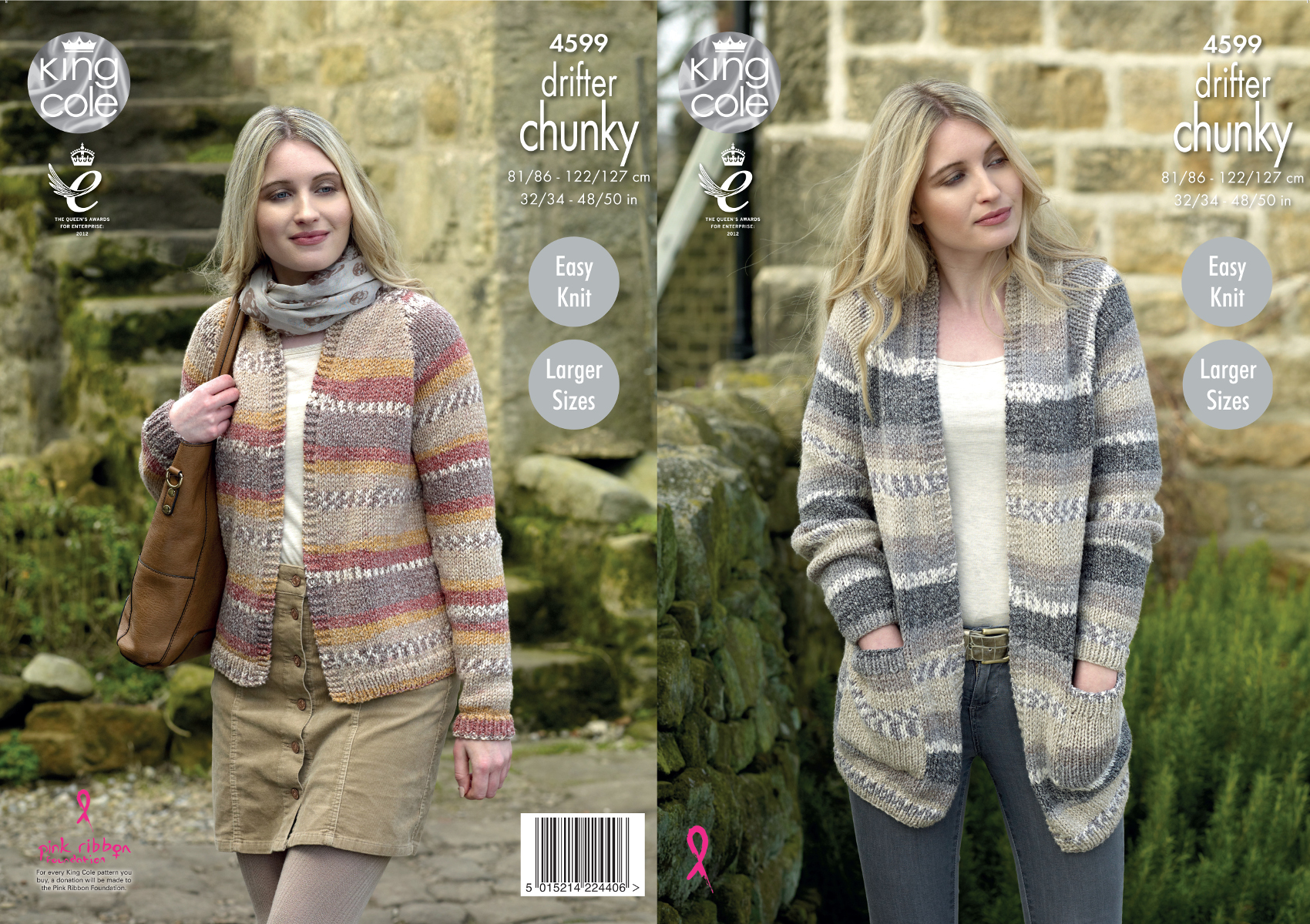 King Cole Ladies Cardigan Knitting Pattern : Easy Knit Long or Short Cardigans Ladies Chunky Knitting Pattern King Cole 45...