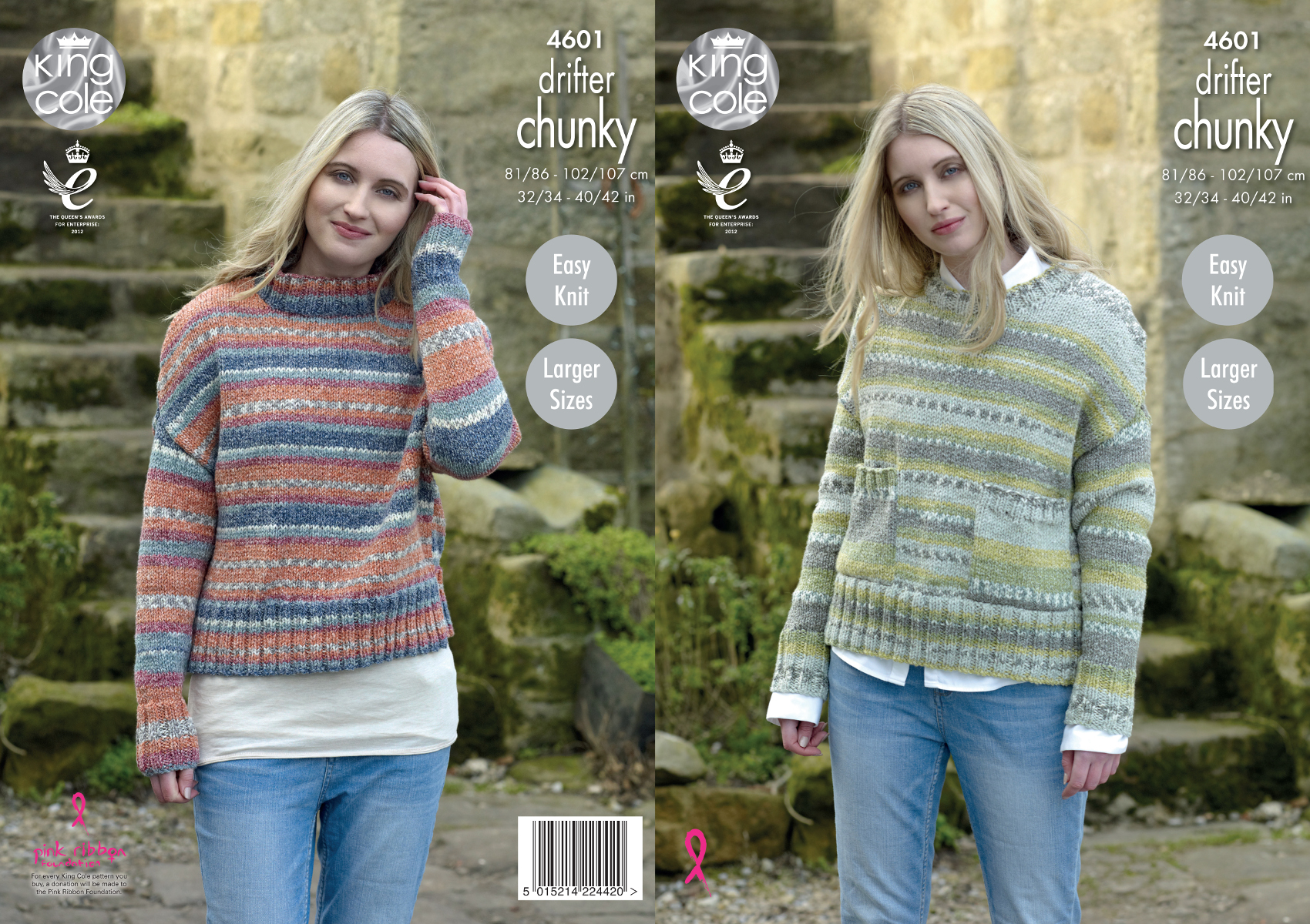 Easy Knit Ribbed Sweaters Ladies Knitting Pattern King ...