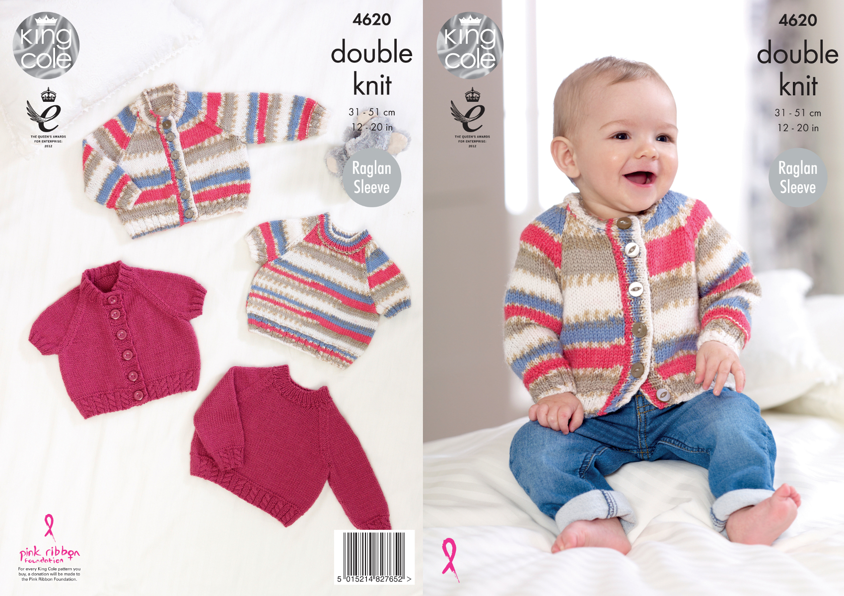 Knitting Pattern Raglan Sleeve Baby Cardigan : King Cole Baby Double Knitting Pattern Raglan Sleeve ...