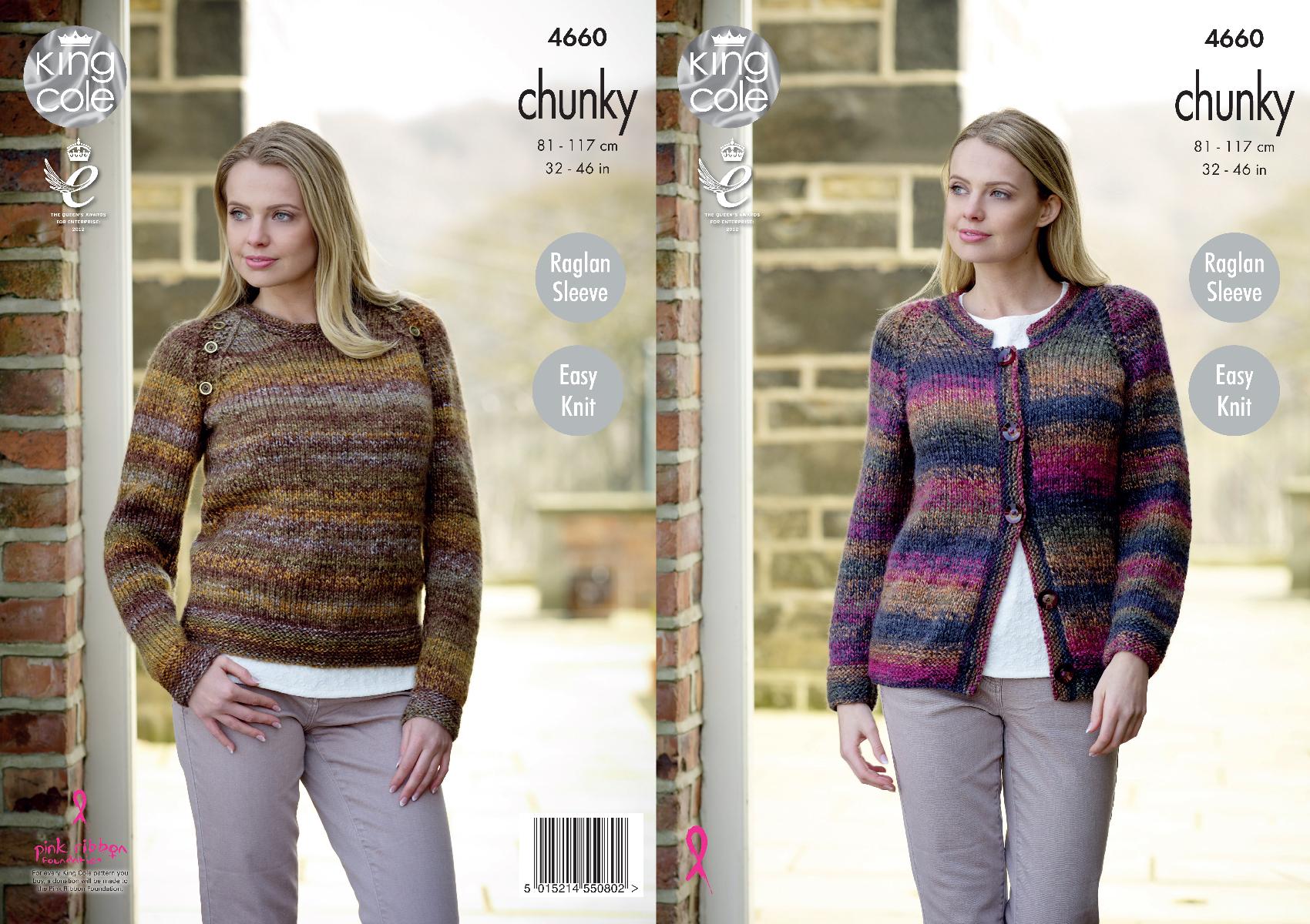 King Cole Ladies Cardigan Knitting Pattern : Easy Knit Raglan Sleeve Cardigan Sweater Knitting Pattern King Cole Ladies 46...