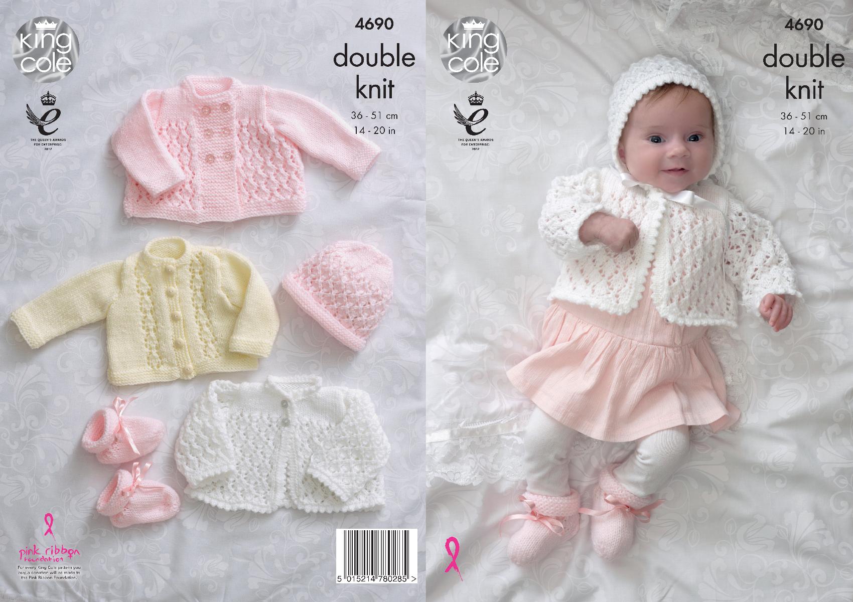 Baby Matinee Coat Knitting Patterns : Knitting pattern baby matinee jacket cardigan bonnet