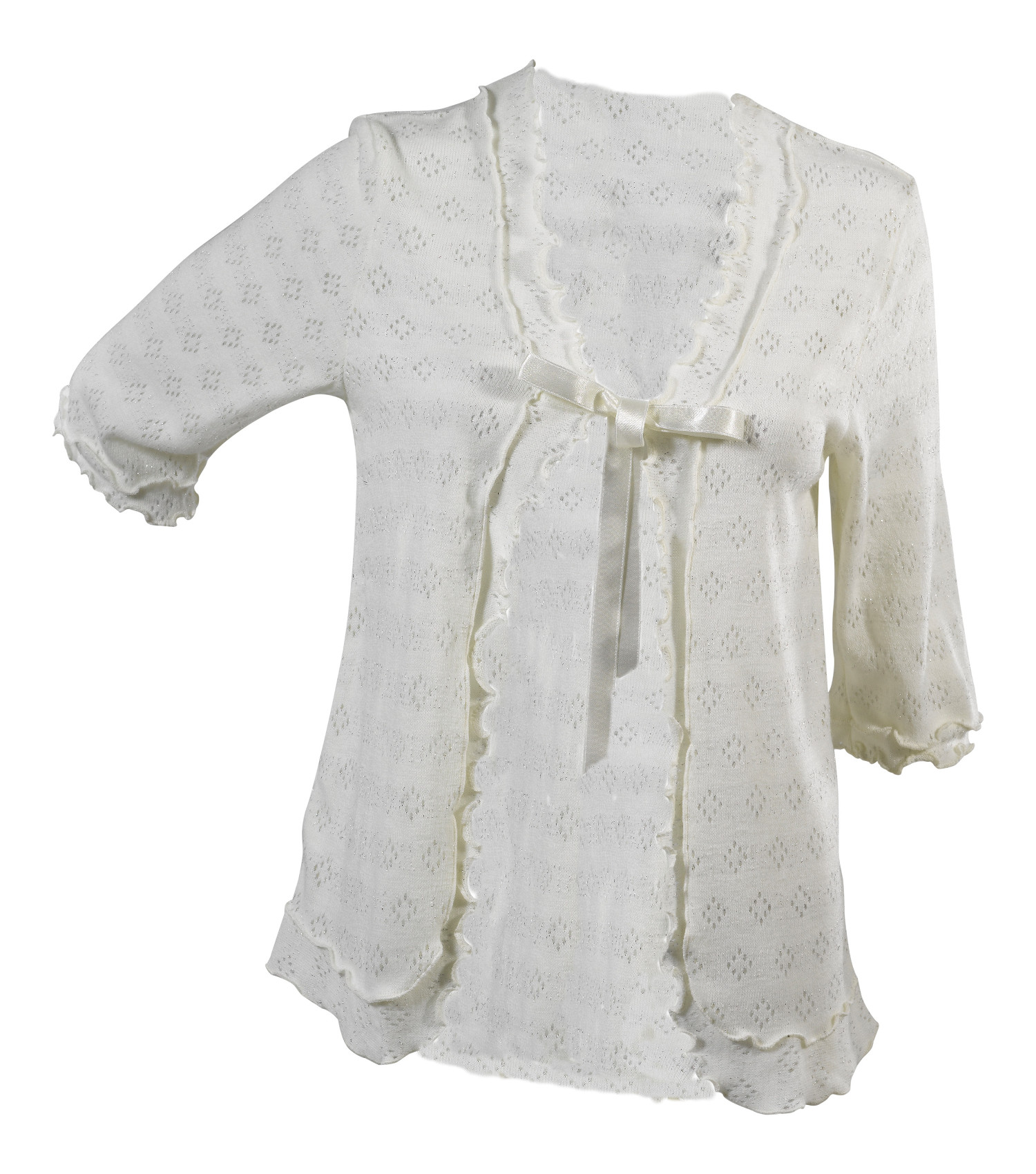 Bed Jacket Slenderella Womens Lace Style Sparkly Ribbon Tie ...
