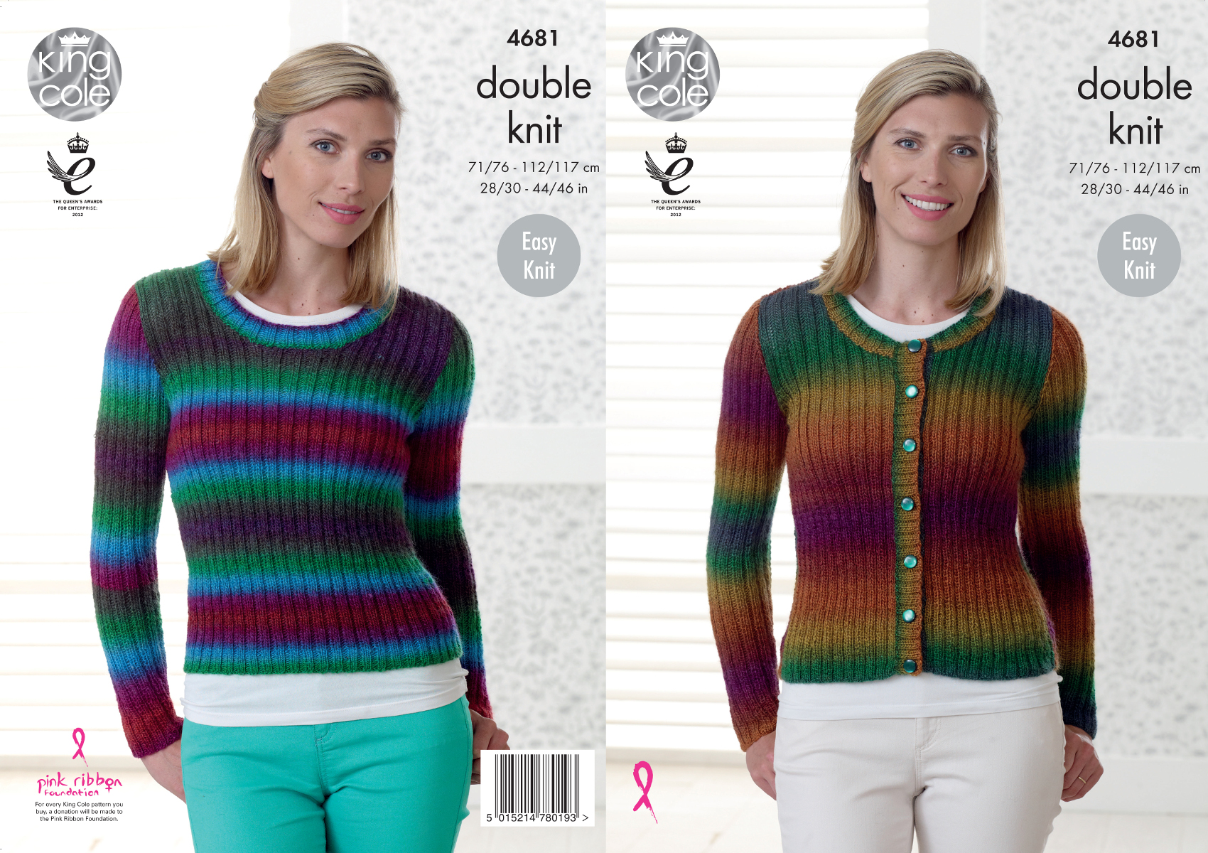 Knitting Patterns Ladies Jumpers Double Knit : Easy Knit Double Knitting Pattern Womens Ribbed Cardigan Jumper King Cole 468...
