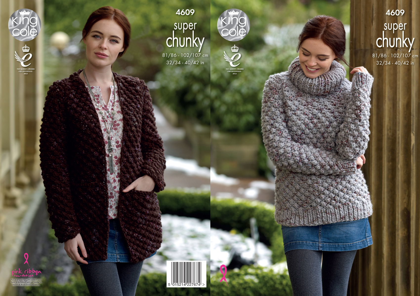 Super Chunky Jumper Knitting Pattern : King Cole Ladies Super Chunky Knitting Pattern Polo Neck Sweater & Cardgi...