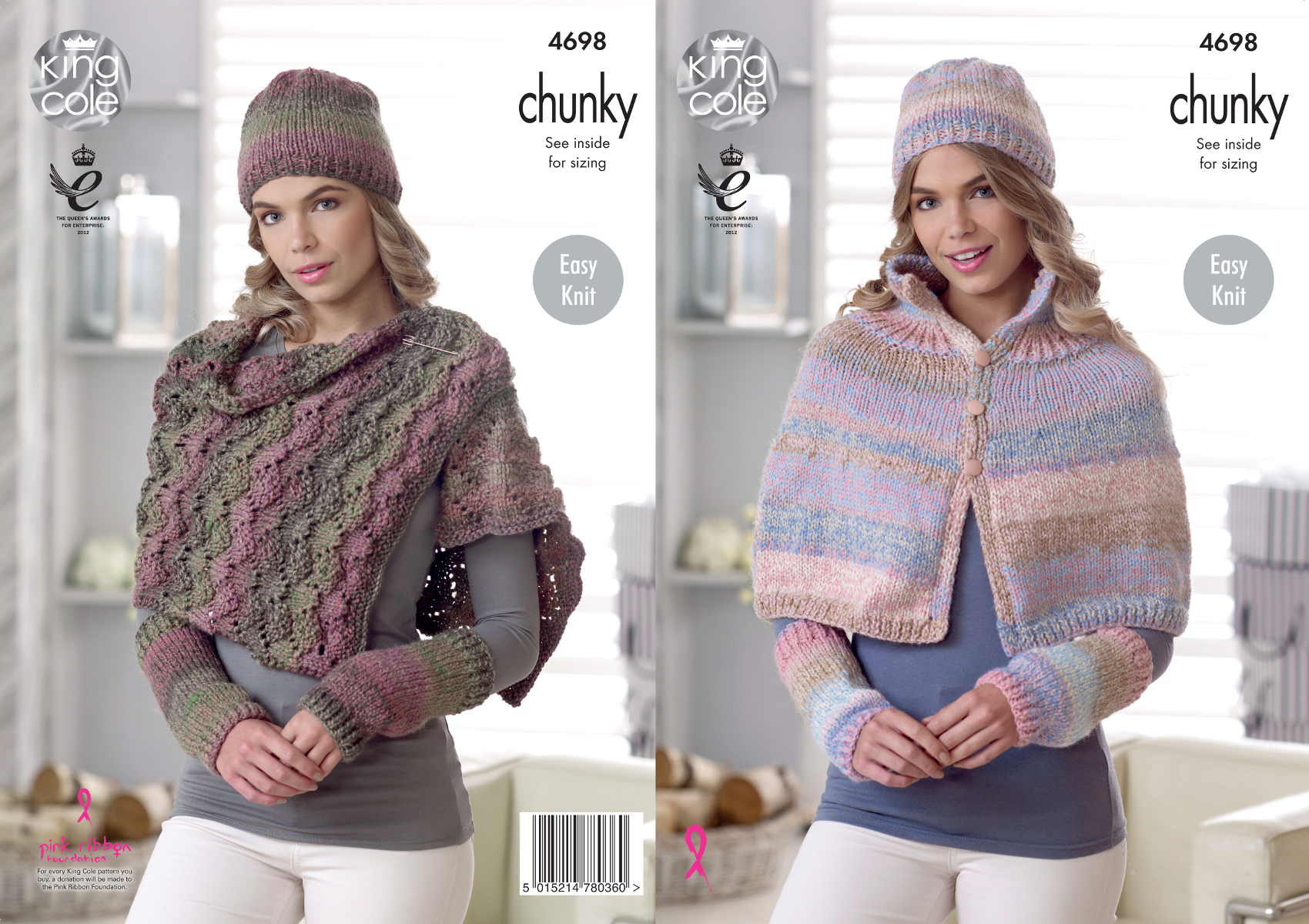 Easy Knit Button Cape Wrap & Accessories Chunky Knitting Pattern King Col...