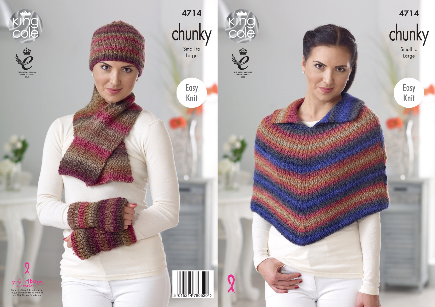 Easy Knit Cape Scarf Wrist Warmers Womens Chunky Knitting Pattern King Cole 4...